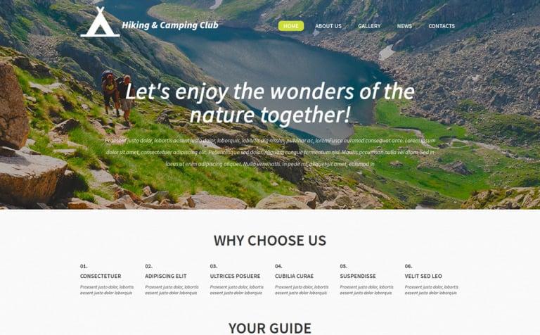 Hiking and Camping Club WordPress Theme