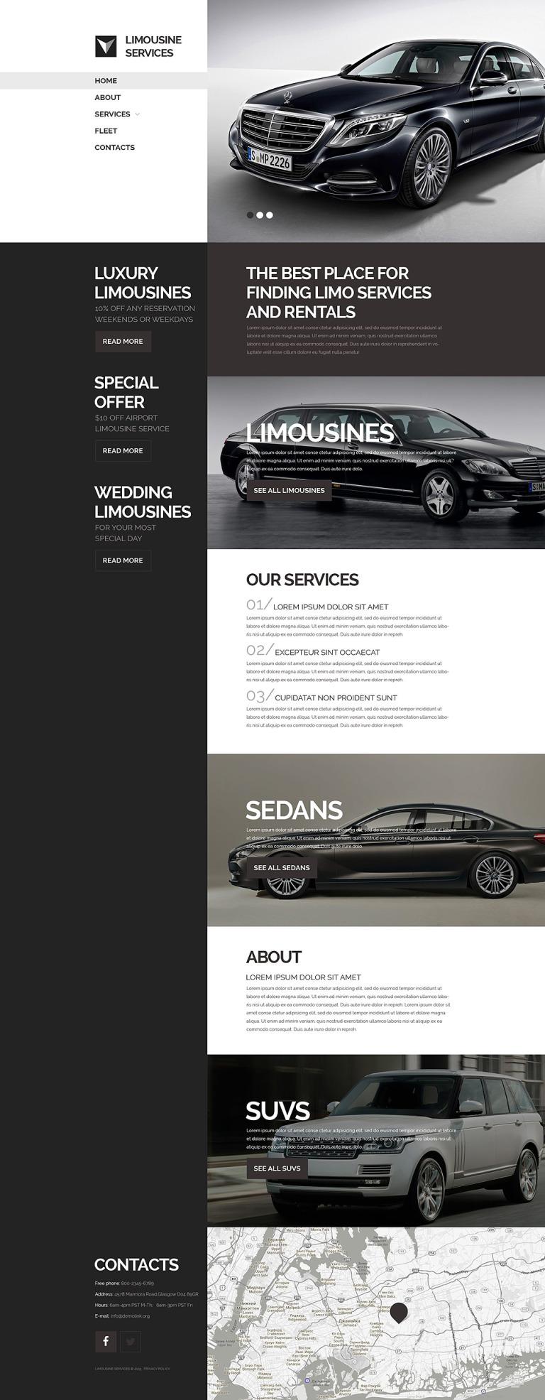 Limo Transportation Website Template New Screenshots BIG