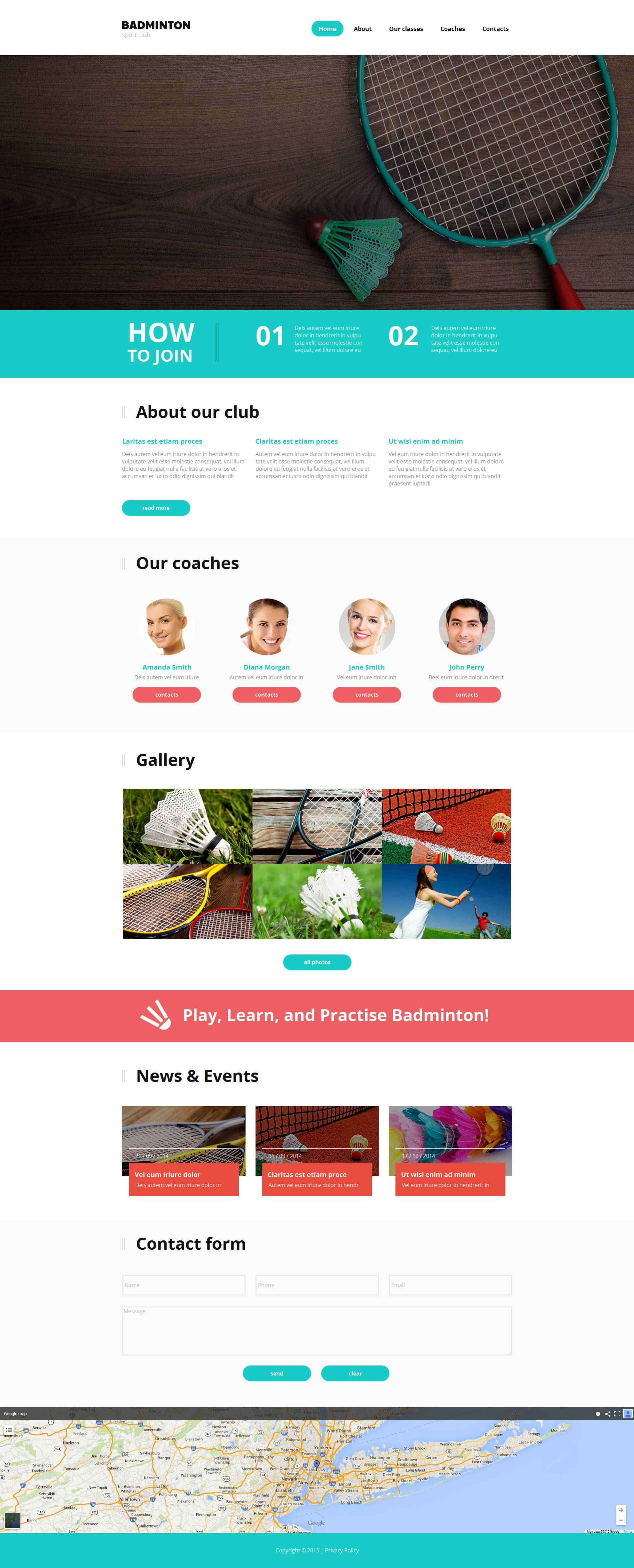 Modèle HTML Badminton Moto CMS