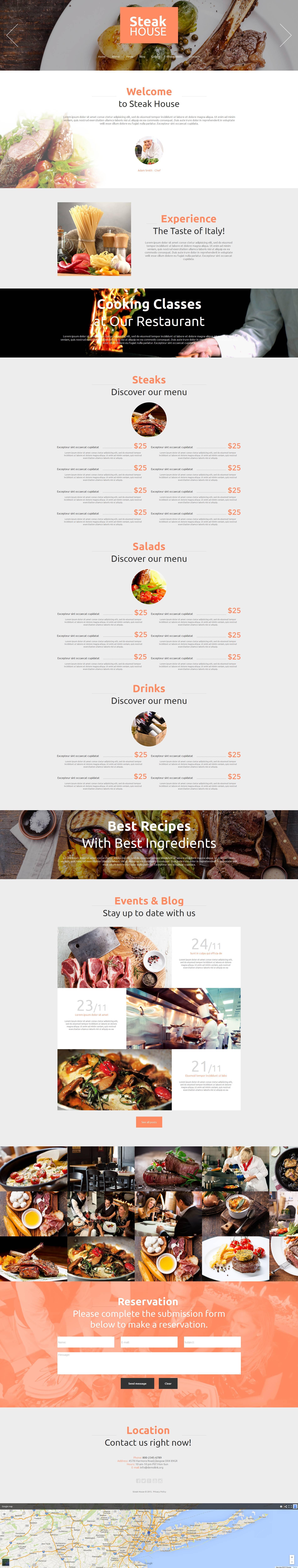 Modello Moto CMS HTML #53234 per Un Sito di Steak House