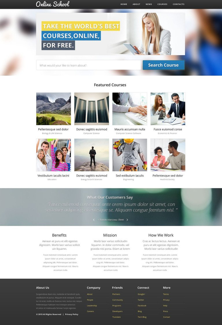 Online School Website Template New Screenshots BIG
