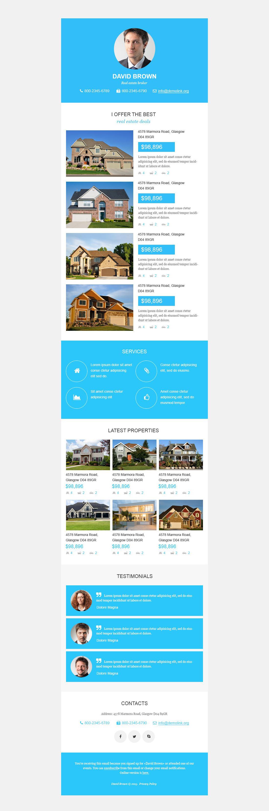 Plantilla De Boletín De Noticias Responsive para Sitio de Agencias inmobiliarias #53284