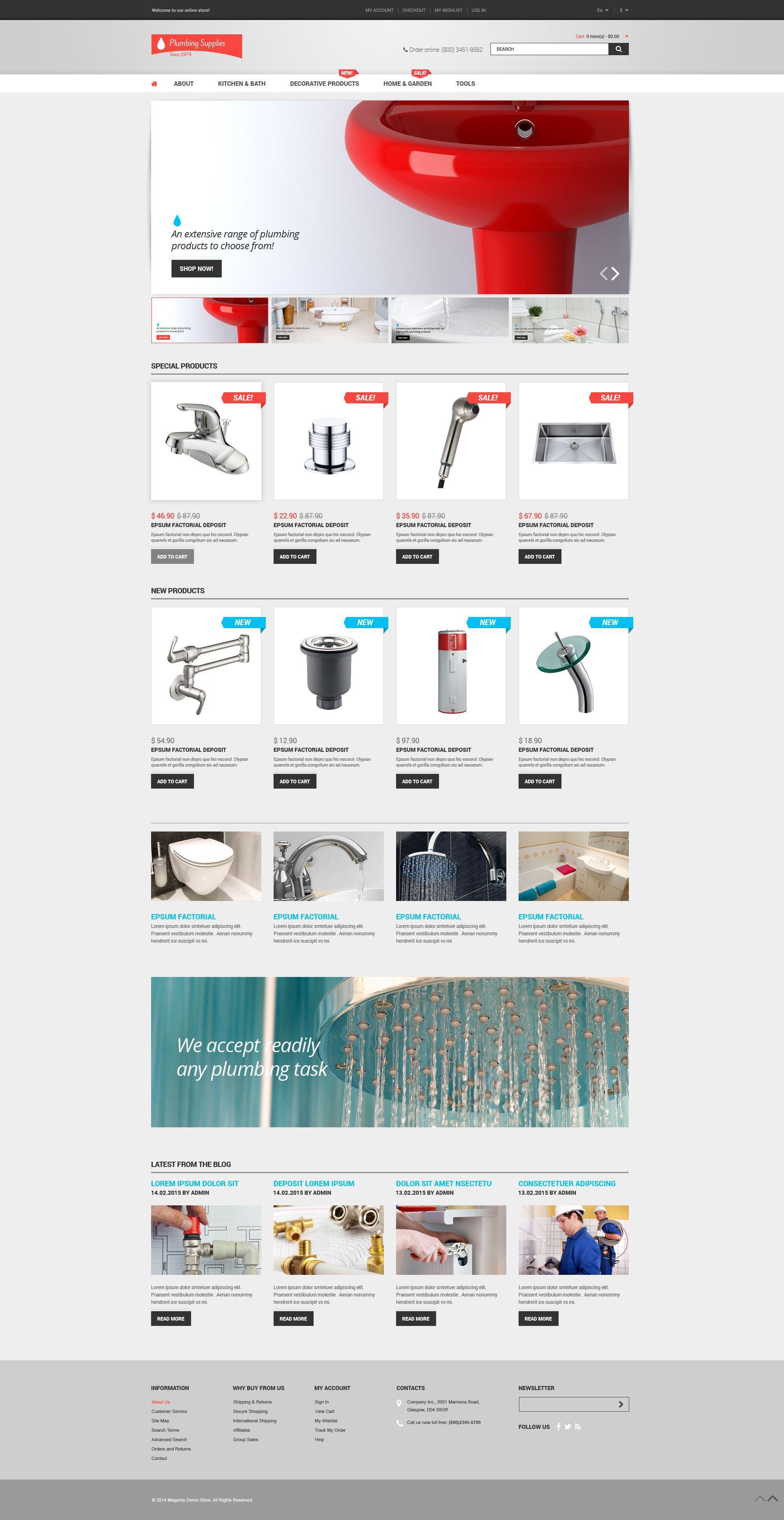 """Plumbing Shop"" thème Magento adaptatif #53267"