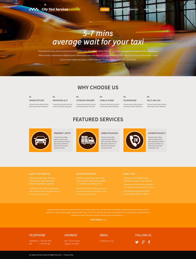 Responsive WordPress Taxi Template WordPress Theme New Screenshots BIG