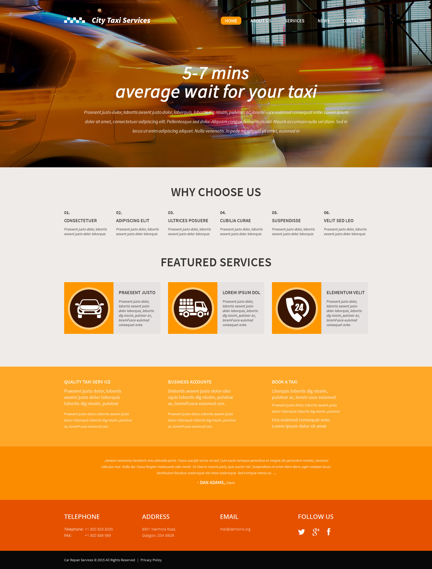 Responsive WordPress Taxi Template WordPress Theme