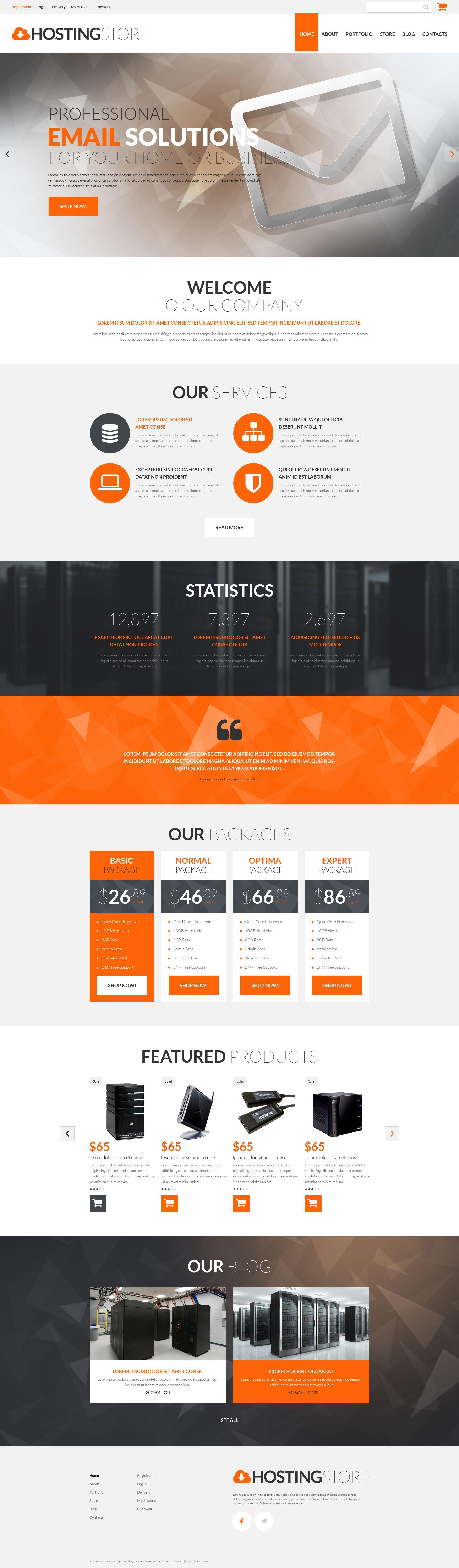 Responsywny motyw WooCommerce Hosting Business #53280 - zrzut ekranu