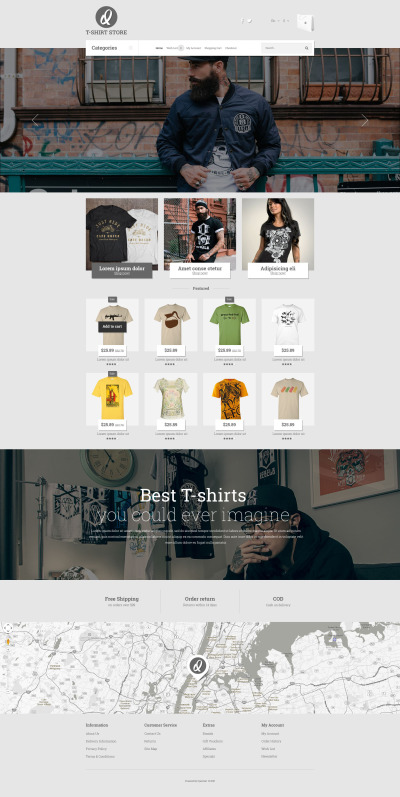 T-shirt Shop Responsive OpenCart šablona