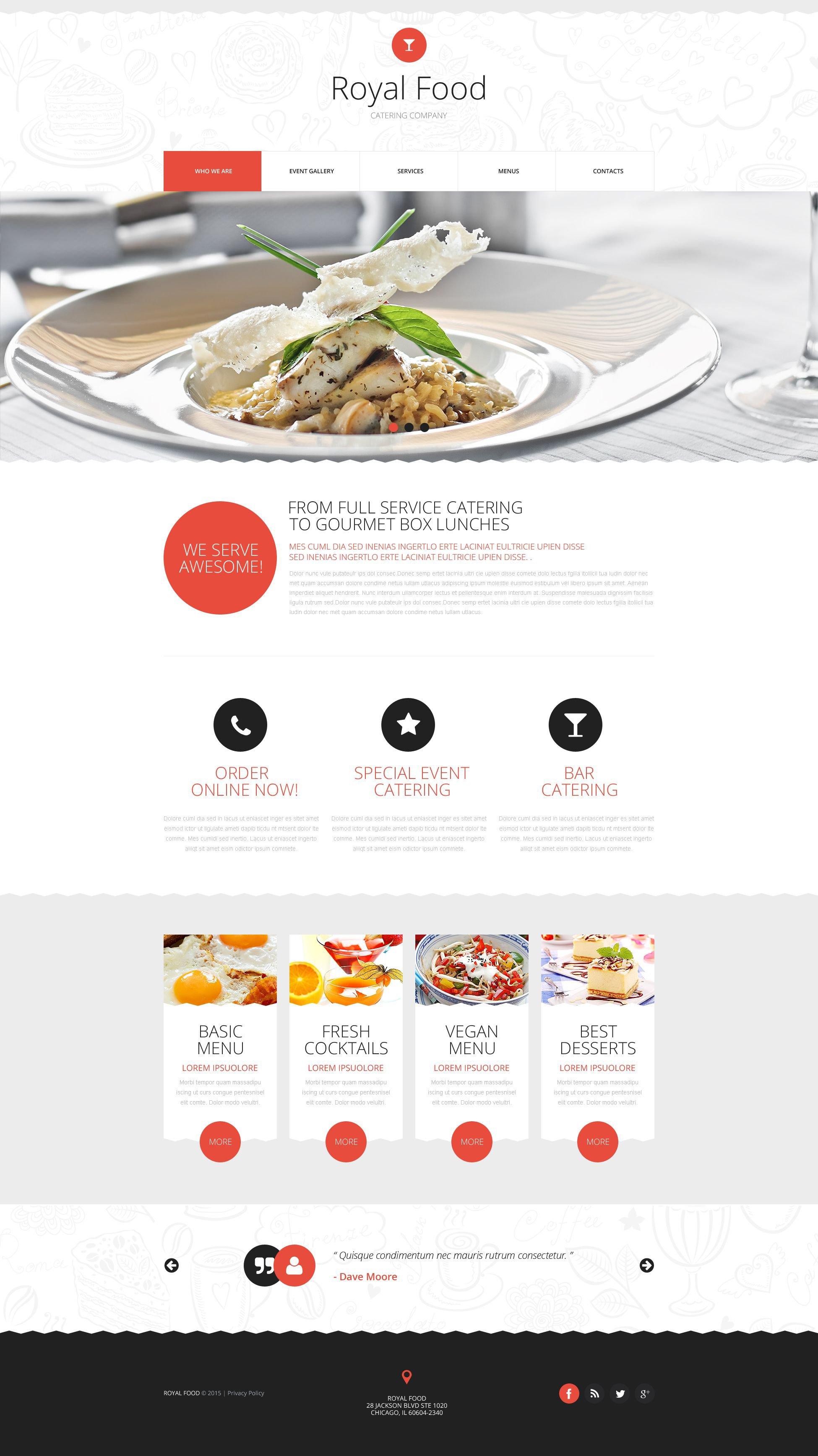 """Responzivní Šablona webových stránek """"Catering Company"""" #53290"""