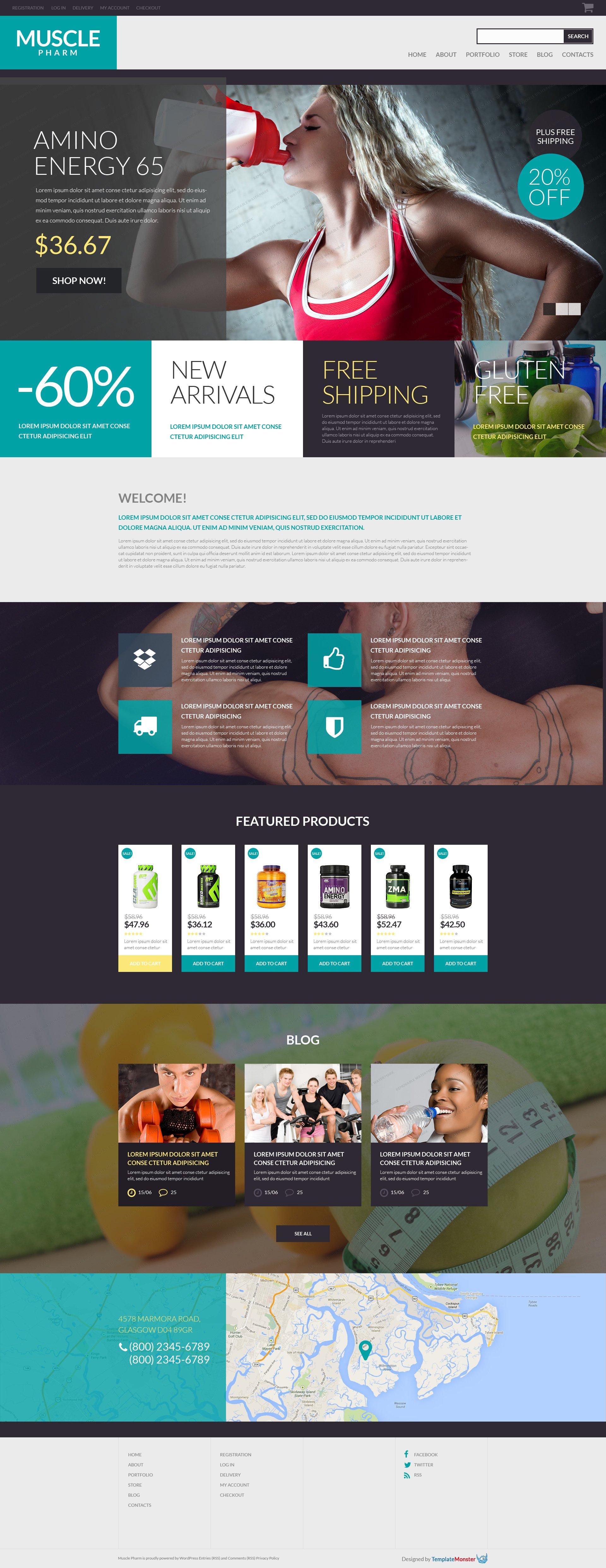 Reszponzív Ingyenes WooCommerce téma a gyógyszertárak számára WooCommerce sablon 53286 - képernyőkép