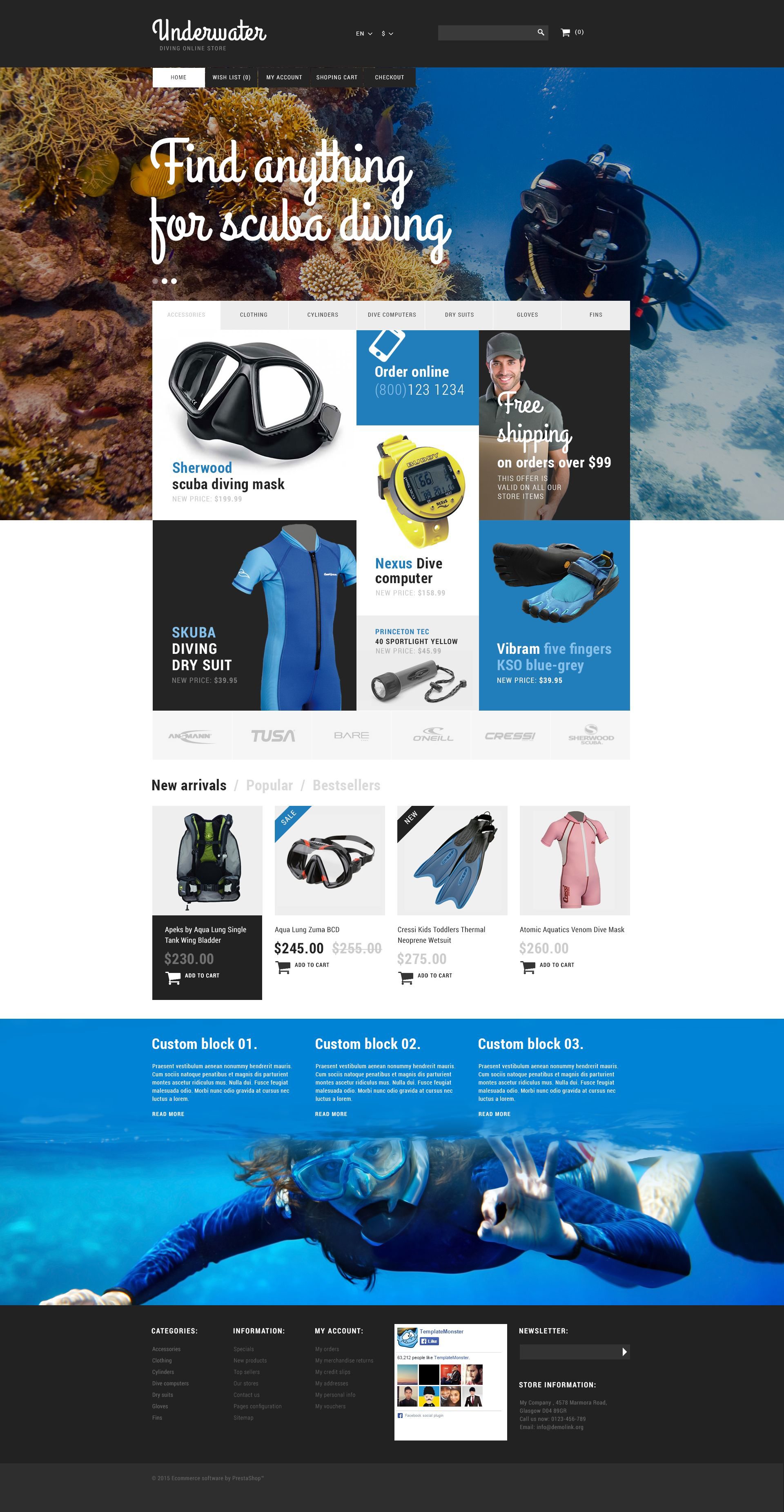 Reszponzív Scuba Diving Equipment PrestaShop sablon 53209