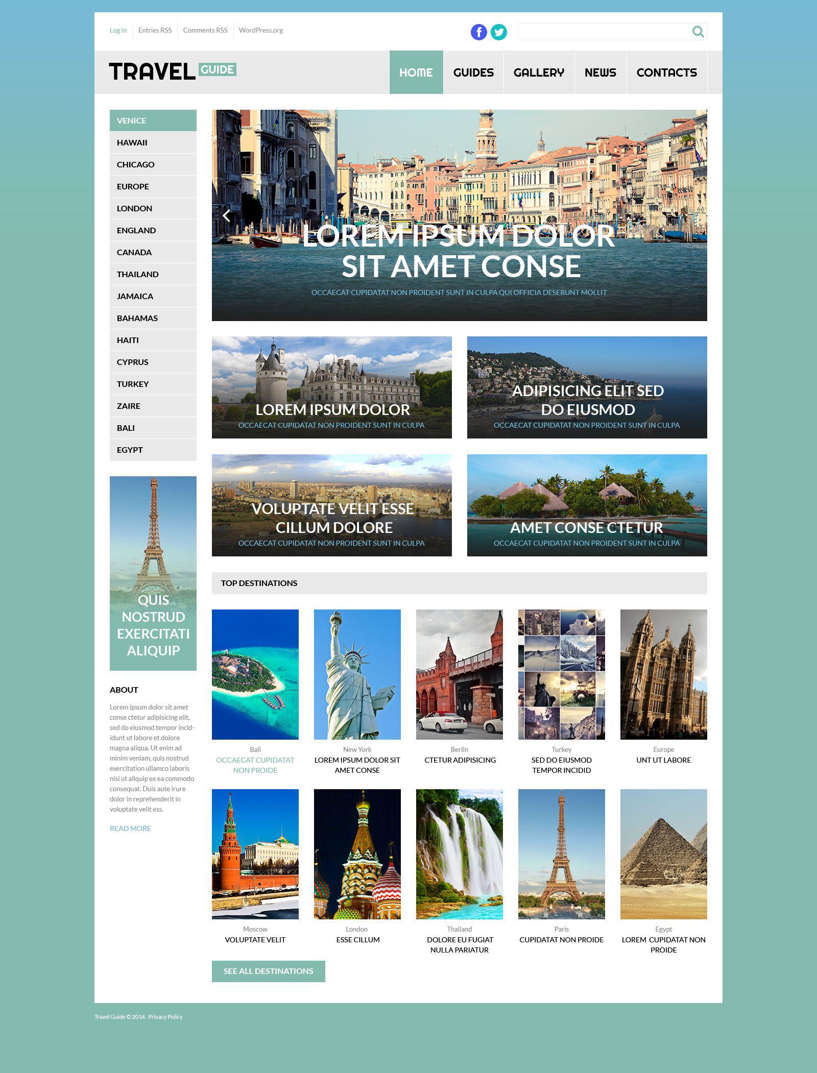 Reszponzív Travel Guide WordPress sablon 53260