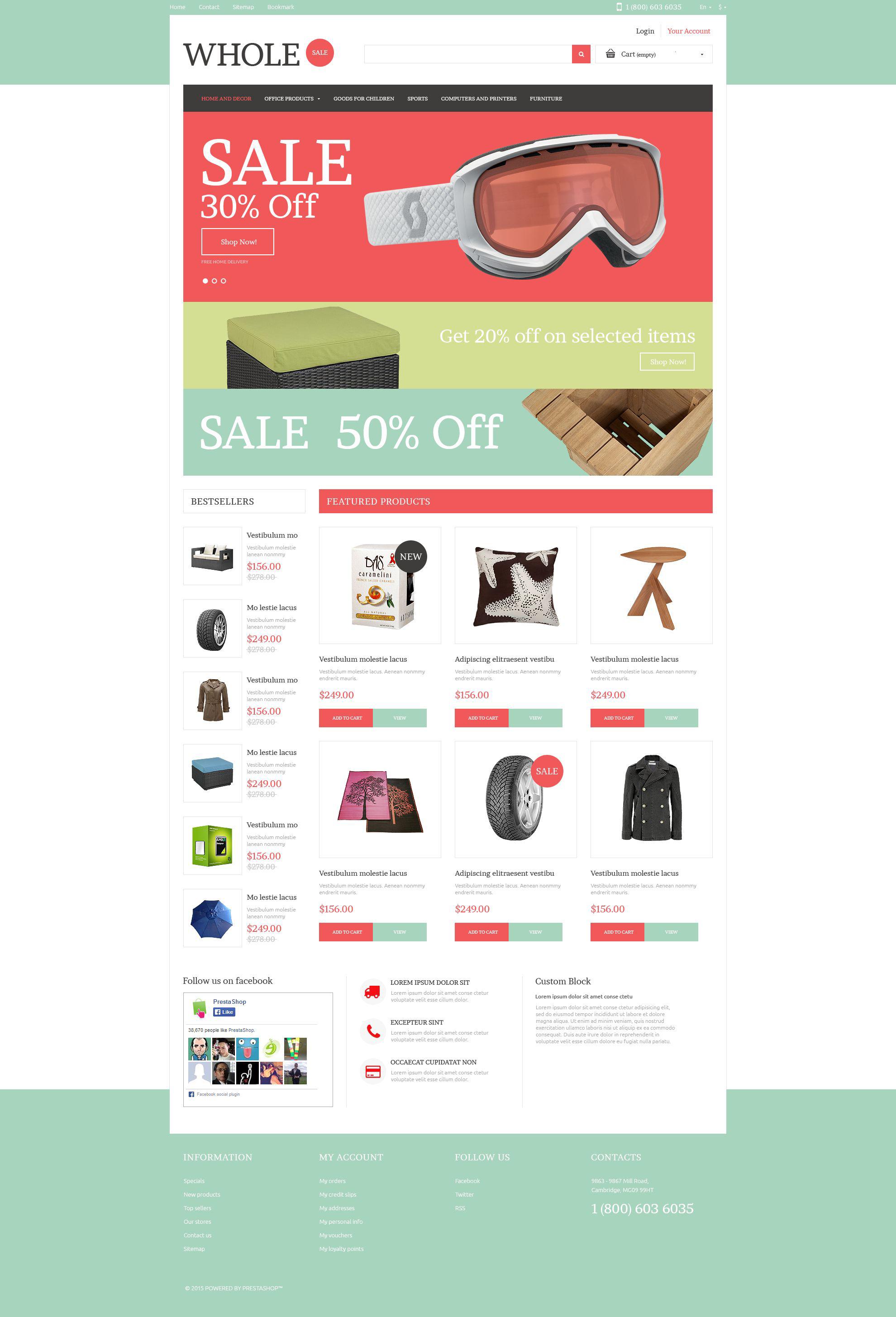 Reszponzív Wholesale Online PrestaShop sablon 53282 - képernyőkép