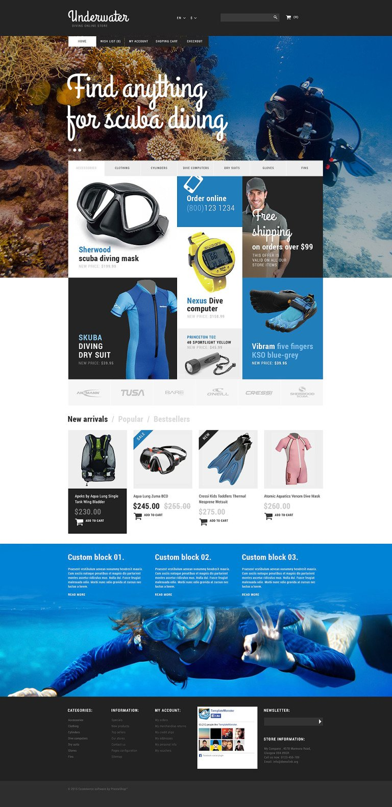 Scuba Diving Equipment PrestaShop Theme New Screenshots BIG