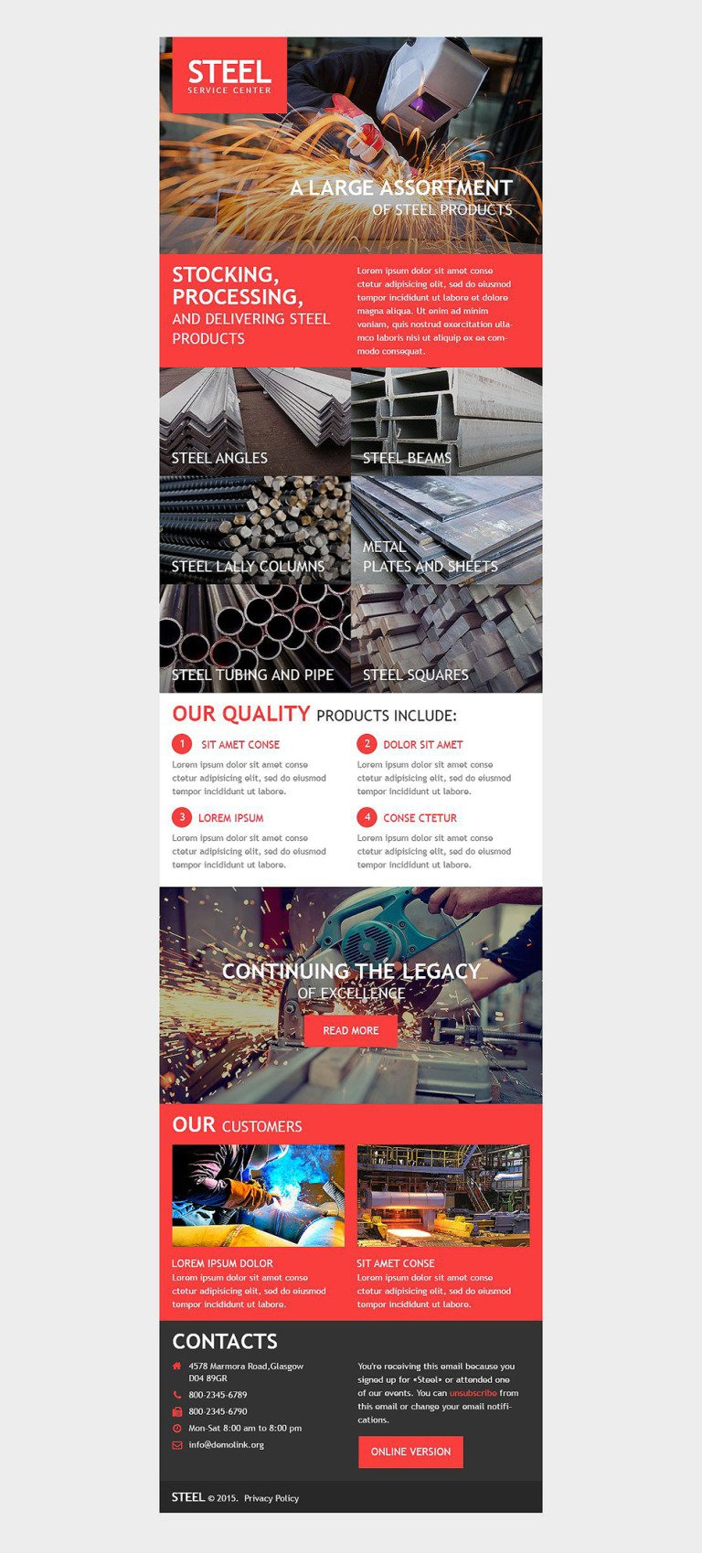 Steelworks Responsive Newsletter Template New Screenshots BIG