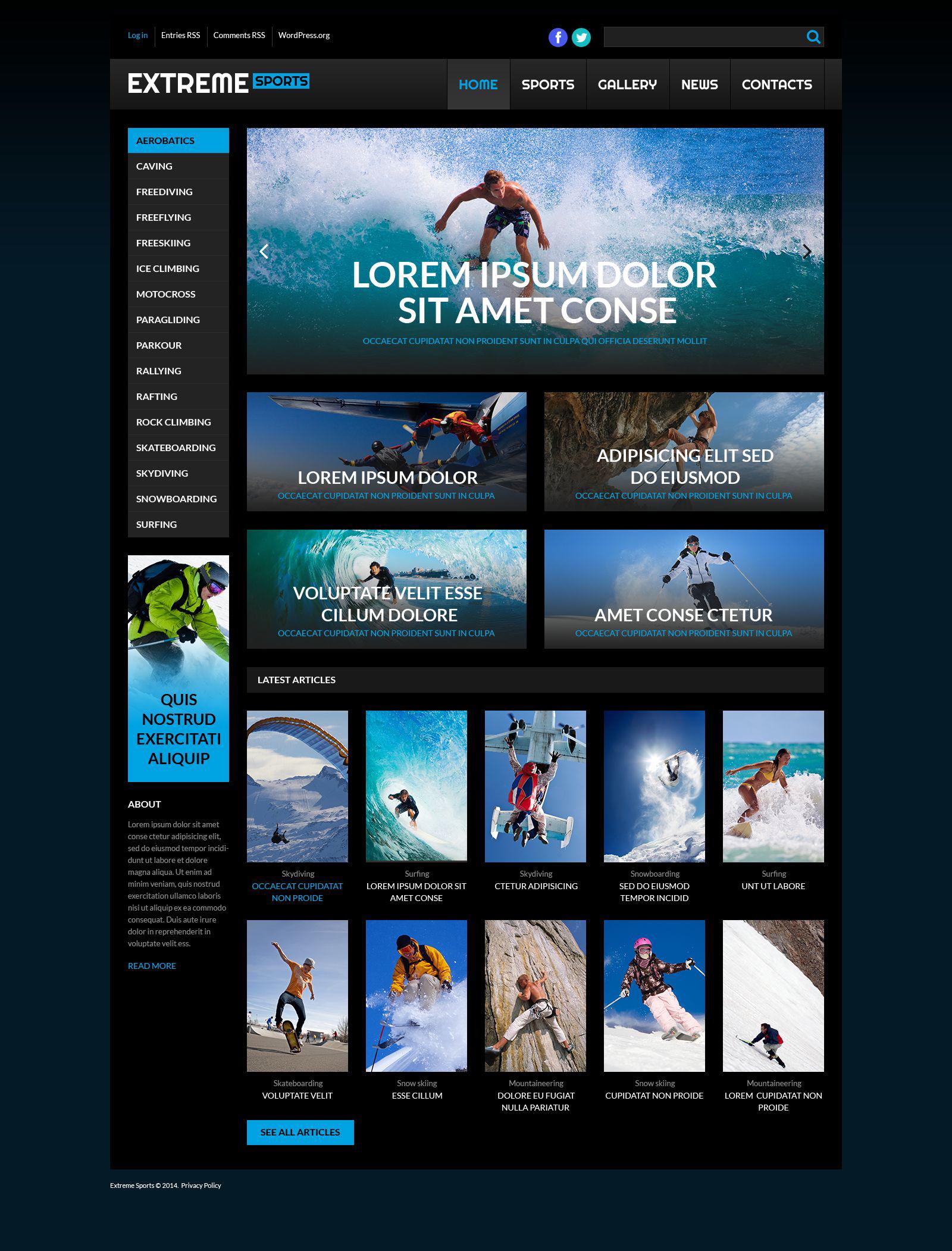 "Tema WordPress Responsive #53259 ""Extreme Sport"""