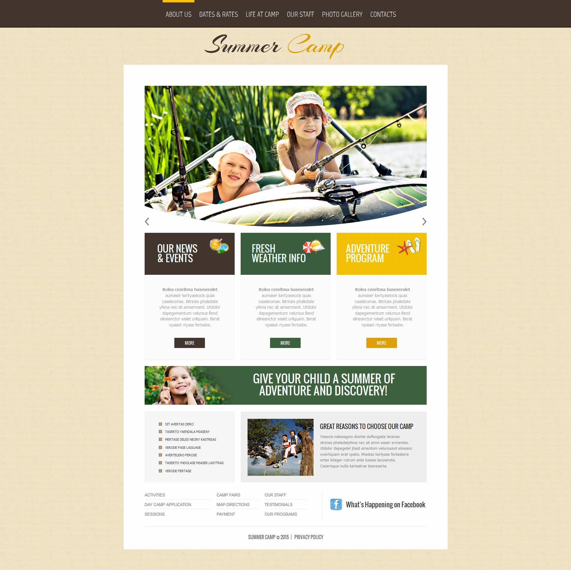 Template Moto CMS HTML para Sites de Acampamento de Verão №53213