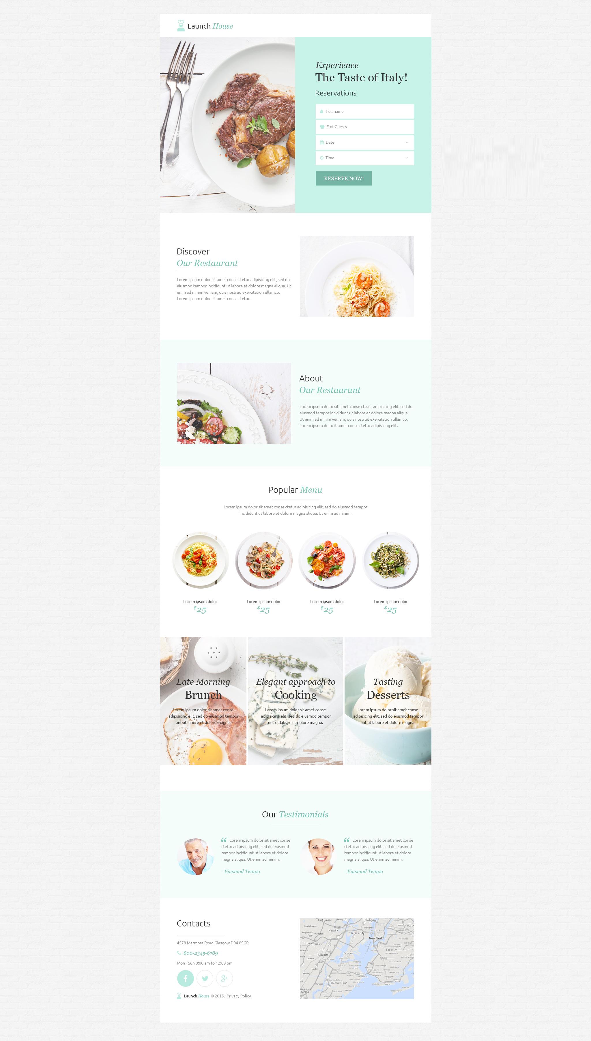 Unbounce šablona Kavárny a Restaurace #53206 - screenshot
