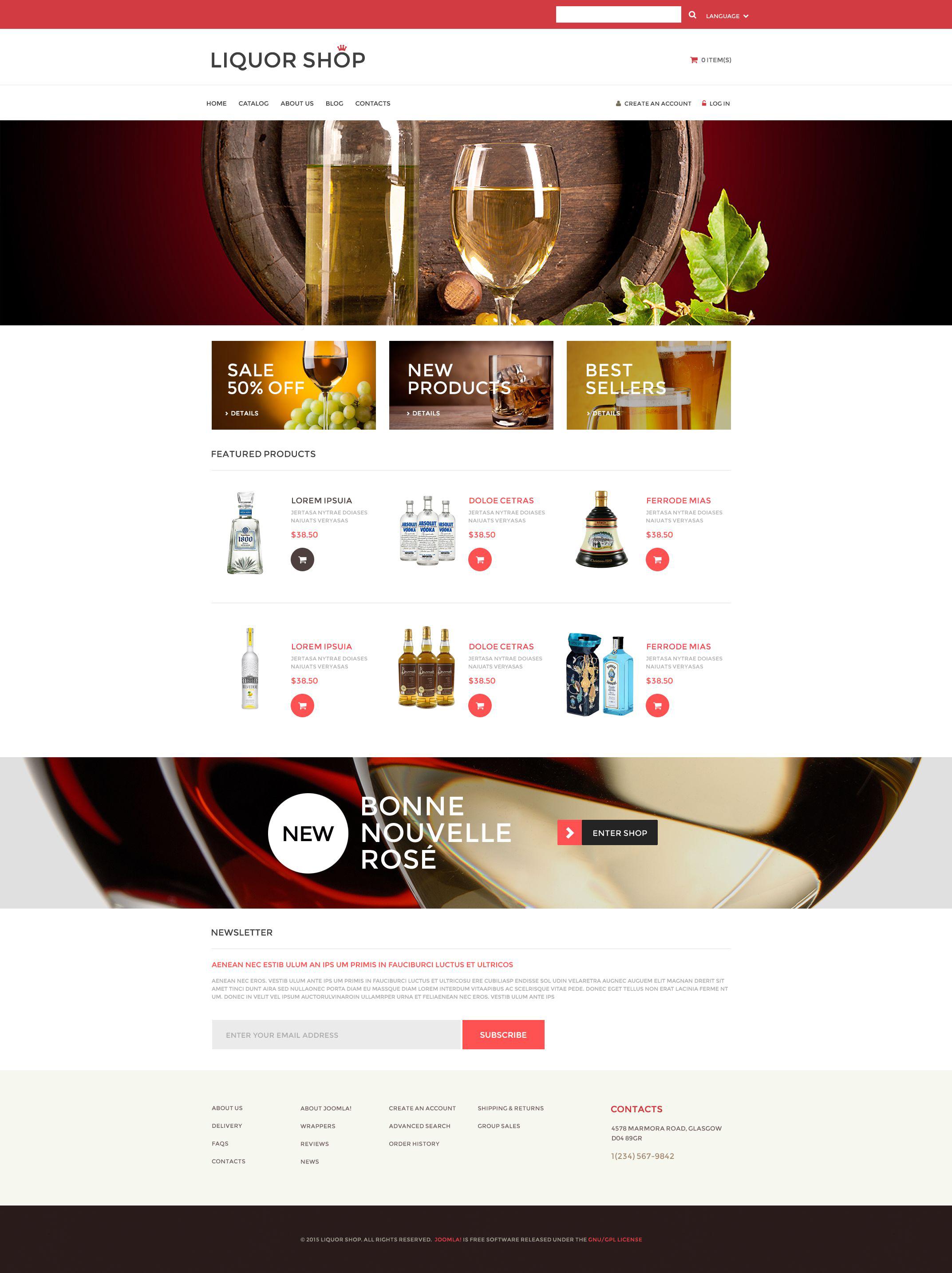 "VirtueMart šablona ""Alcoholic Drinks"" #53281"