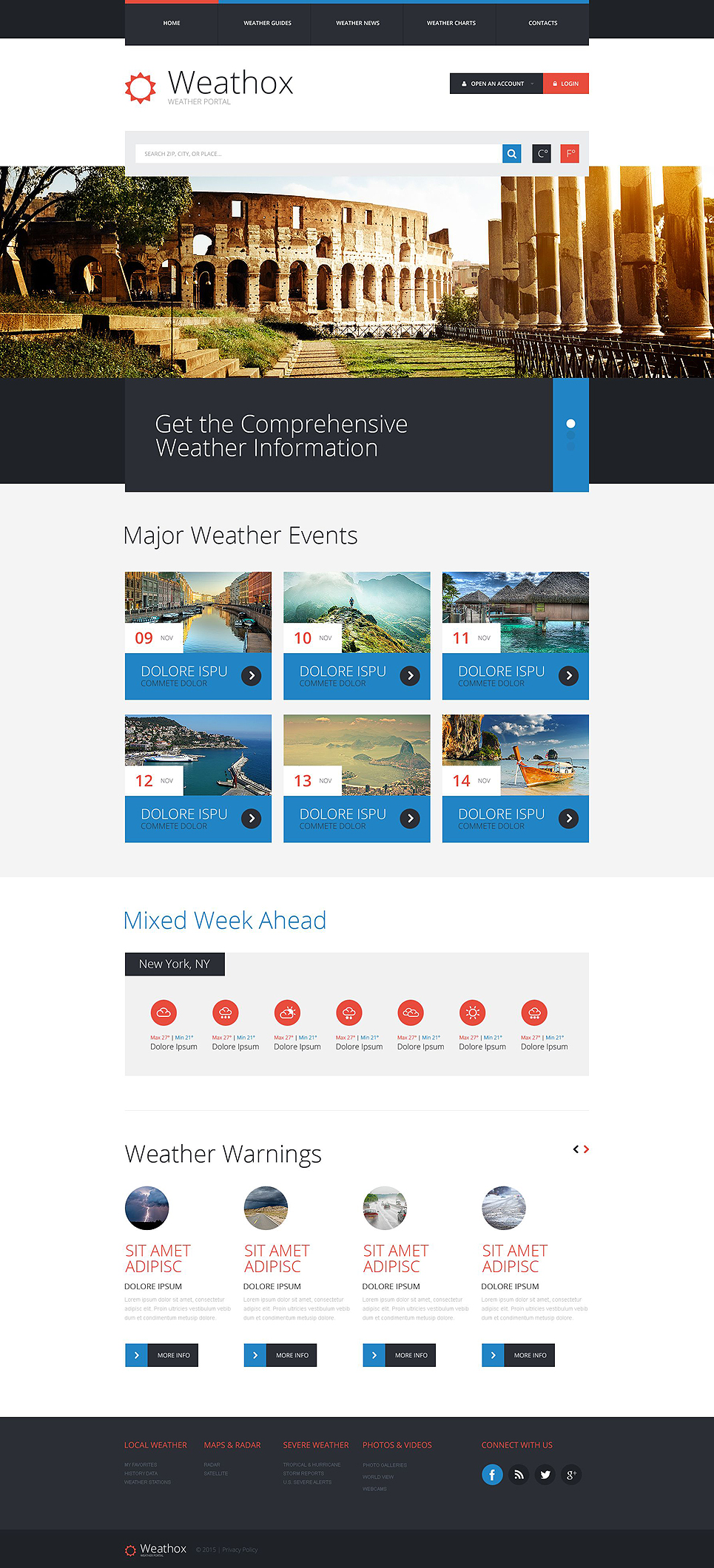 weather forecast web template. Black Bedroom Furniture Sets. Home Design Ideas