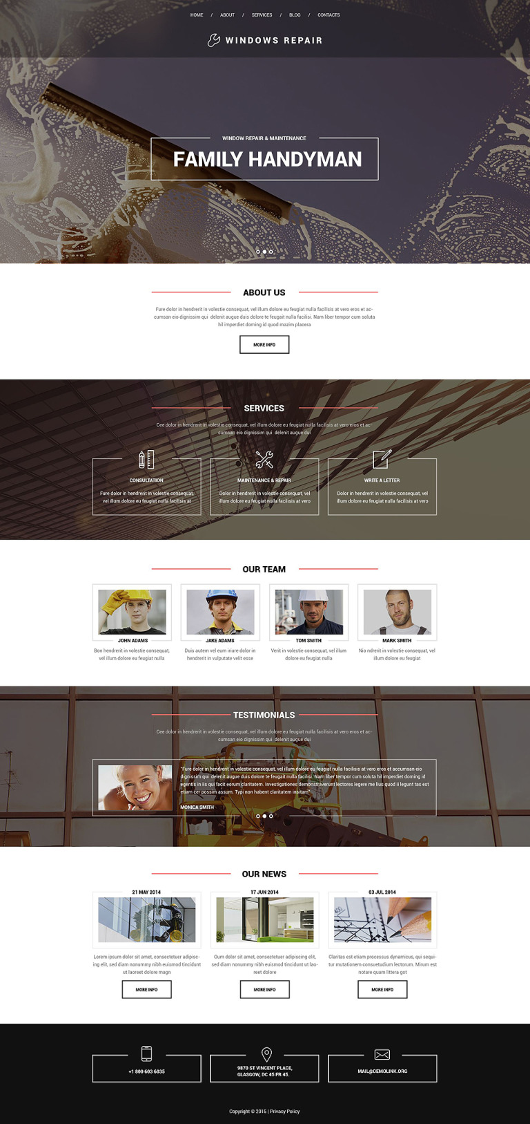 Window Repair Drupal Template New Screenshots BIG