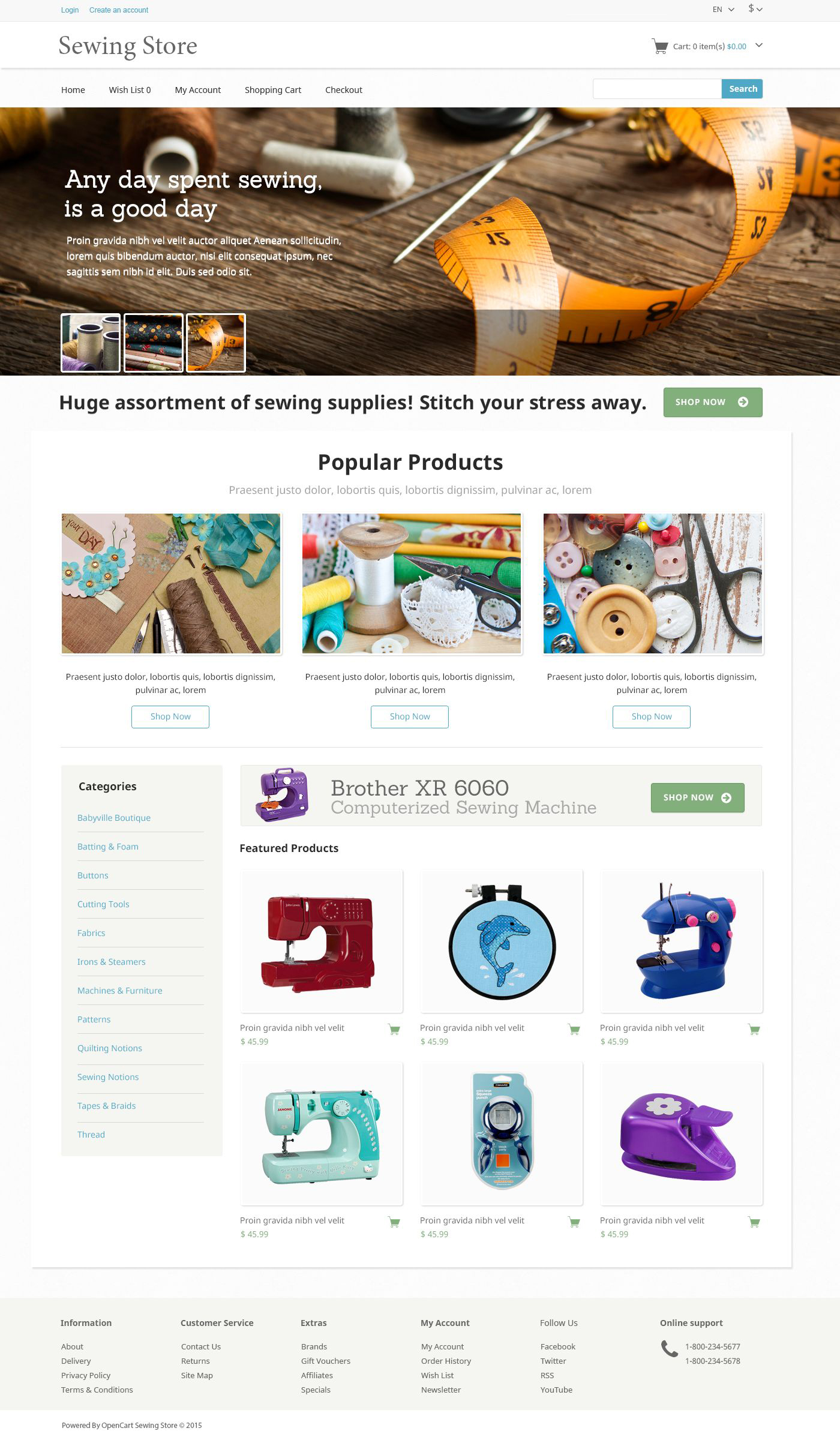 The Sewing Store OpenCart Design 53305, one of the best OpenCart templates of its kind (most popular, hobbies & crafts), also known as sewing store OpenCart template, silks OpenCart template, woollen OpenCart template, cloth OpenCart template, light OpenCart template, fabric OpenCart template, embroidery OpenCart template, buttons OpenCart template, decor OpenCart template, crafts and related with sewing store, silks, woollen, cloth, light, fabric, embroidery, buttons, decor, crafts, etc.