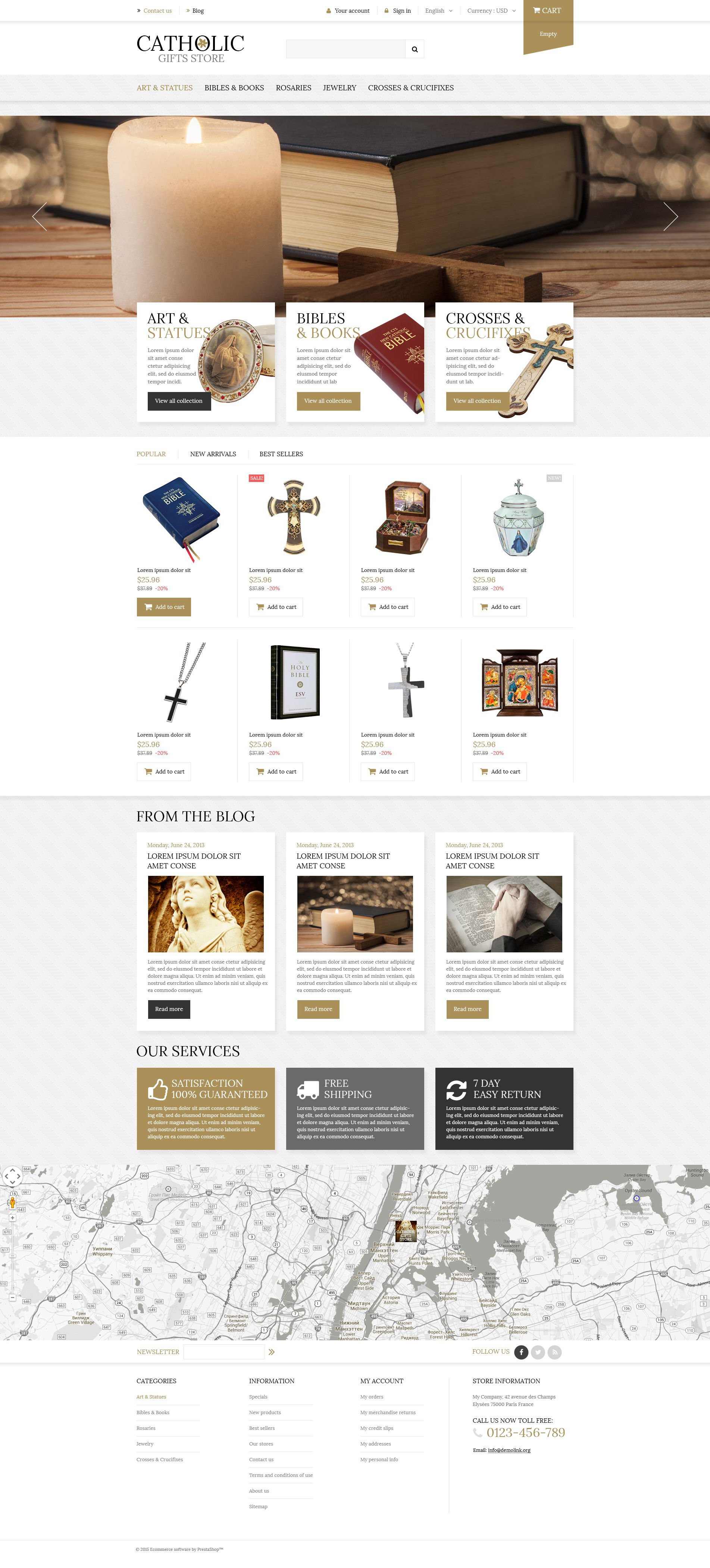 The Catholic Gifts PrestaShop Design 53320, one of the best PrestaShop themes of its kind (religious, most popular), also known as catholic gifts PrestaShop template, gift store PrestaShop template, online presents PrestaShop template, candle PrestaShop template, accessory PrestaShop template, books and related with catholic gifts, gift store, online presents, candle, accessory, books, etc.