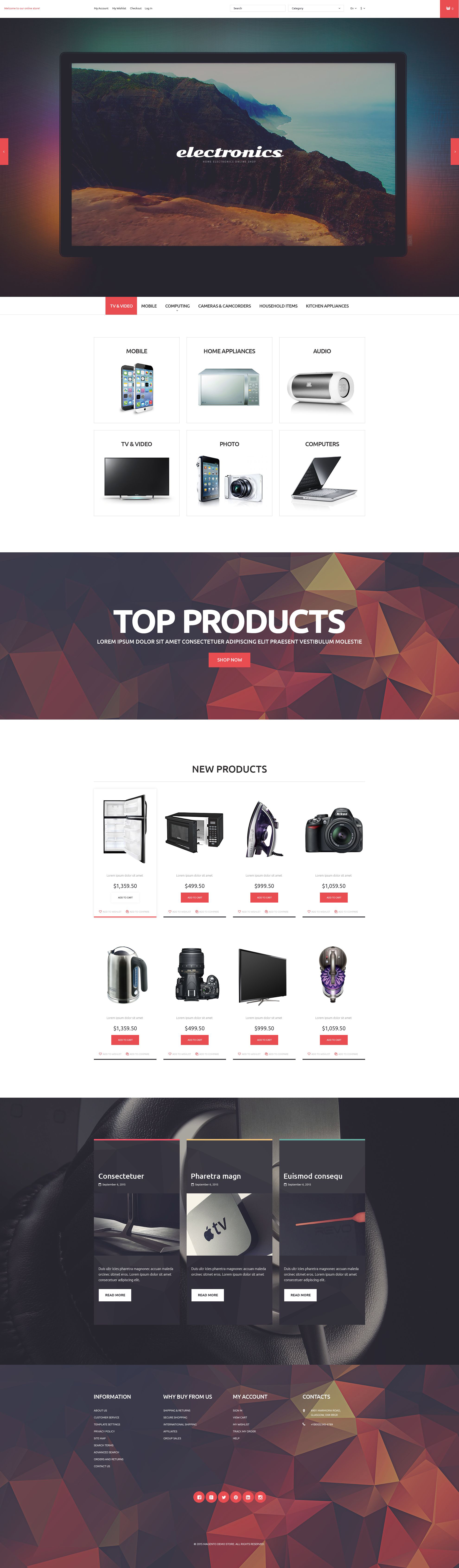 The Electronic Online Shop Magento Design 53323, one of the best Magento themes of its kind (electronics, most popular), also known as electronic online shop Magento template, delivery Magento template, computer Magento template, office Magento template, staff Magento template, printer Magento template, notebook Magento template, laptop shipment Magento template, desktop portable Magento template, scanner Magento template, camera Magento template, monitor Magento template, cable system Magento template, technology Magento template, processor Magento template, installation Magento template, hardware Magento template, input Magento template, device Magento template, memory Magento template, server Magento template, accessory Magento template, wireless Magento template, PC connection and related with electronic online shop, delivery, computer, office, staff, printer, notebook, laptop shipment, desktop portable, scanner, camera, monitor, cable system, technology, processor, installation, hardware, input, device, memory, server, accessory, wireless, PC connection, etc.