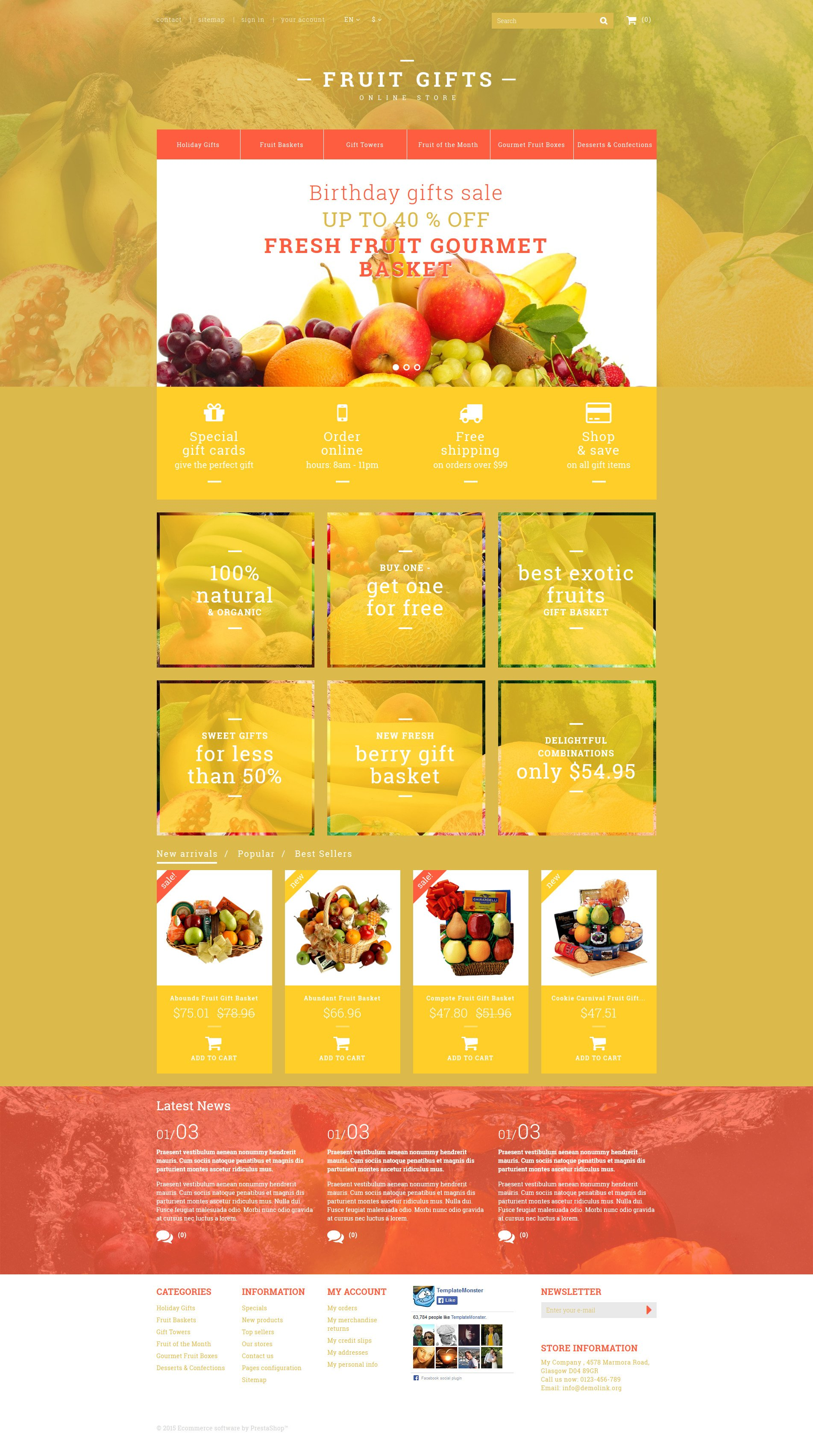The Fruit Gift Store PrestaShop Design 53379, one of the best PrestaShop themes of its kind (gifts, most popular), also known as fruit gift store PrestaShop template, fruits PrestaShop template, dried PrestaShop template, basket PrestaShop template, gift PrestaShop template, chocolate PrestaShop template, strawberries PrestaShop template, gourmet PrestaShop template, chocolate-dipped PrestaShop template, citrus PrestaShop template, delicacy and related with fruit gift store, fruits, dried, basket, gift, chocolate, strawberries, gourmet, chocolate-dipped, citrus, delicacy, etc.