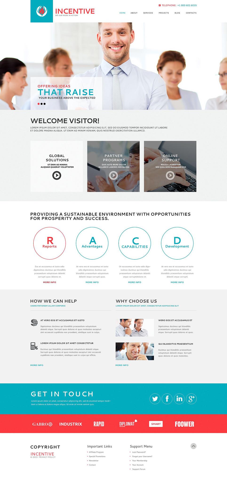 Адаптивный шаблон сайта на тему бизнес и услуги #53366