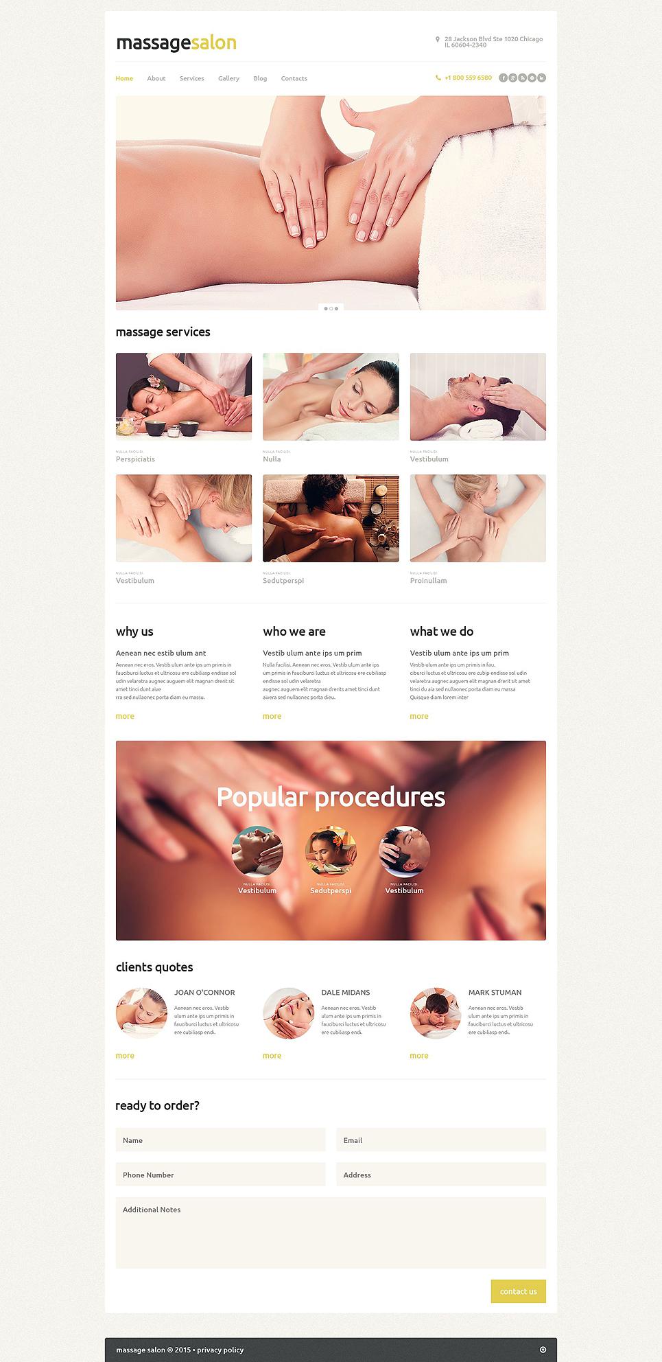 Адаптивный шаблон сайта на тему массажный салон #53369