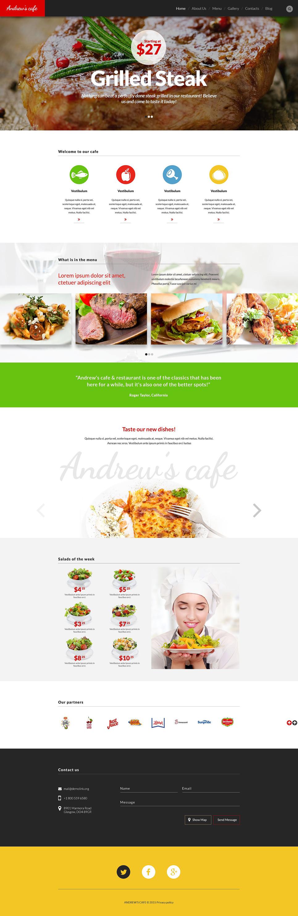 Адаптивный шаблон сайта на тему кафе #53373