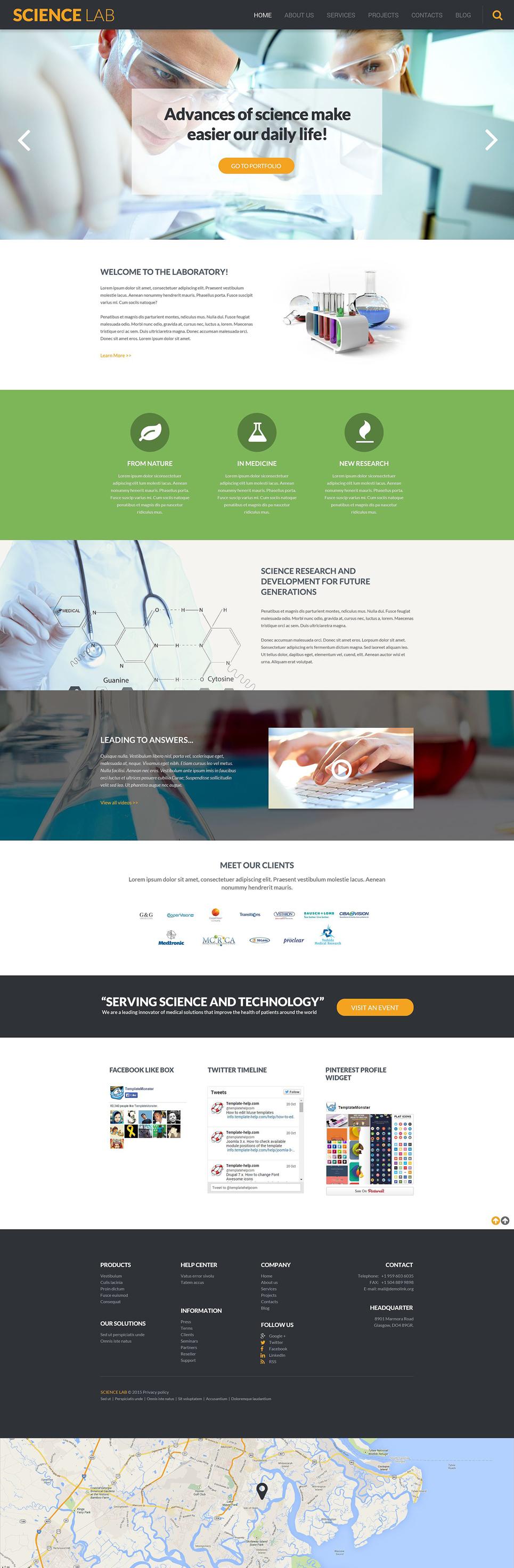 Адаптивный шаблон сайта на тему научная лаборатория #53376