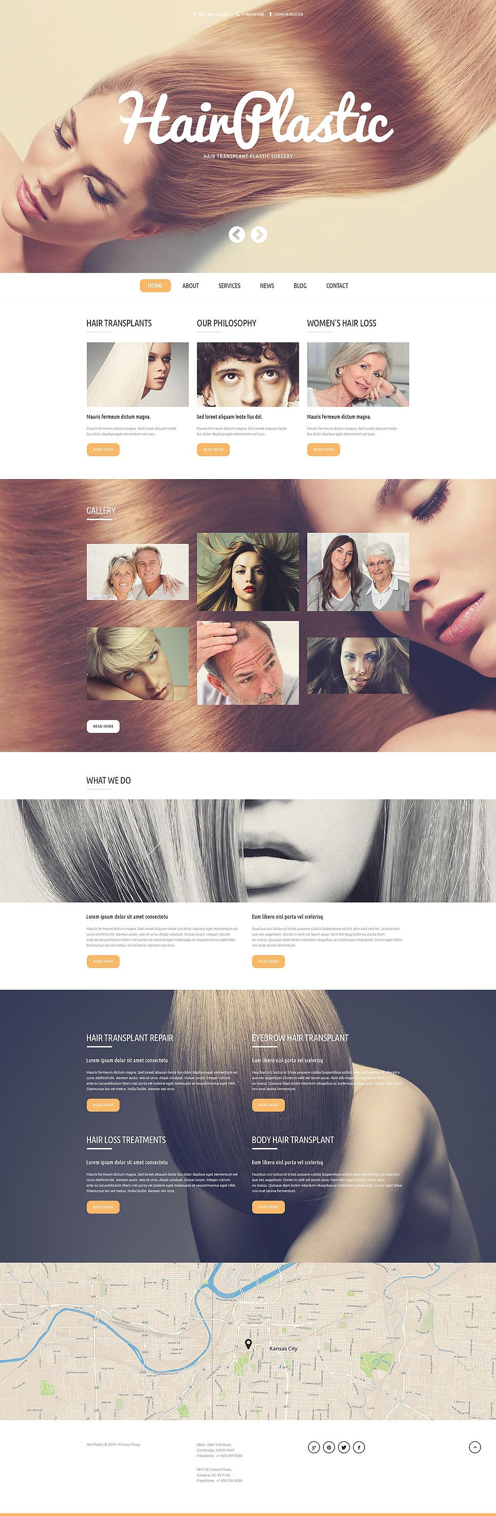 Адаптивный шаблон сайта на тему клиника по пересадке волос #53385