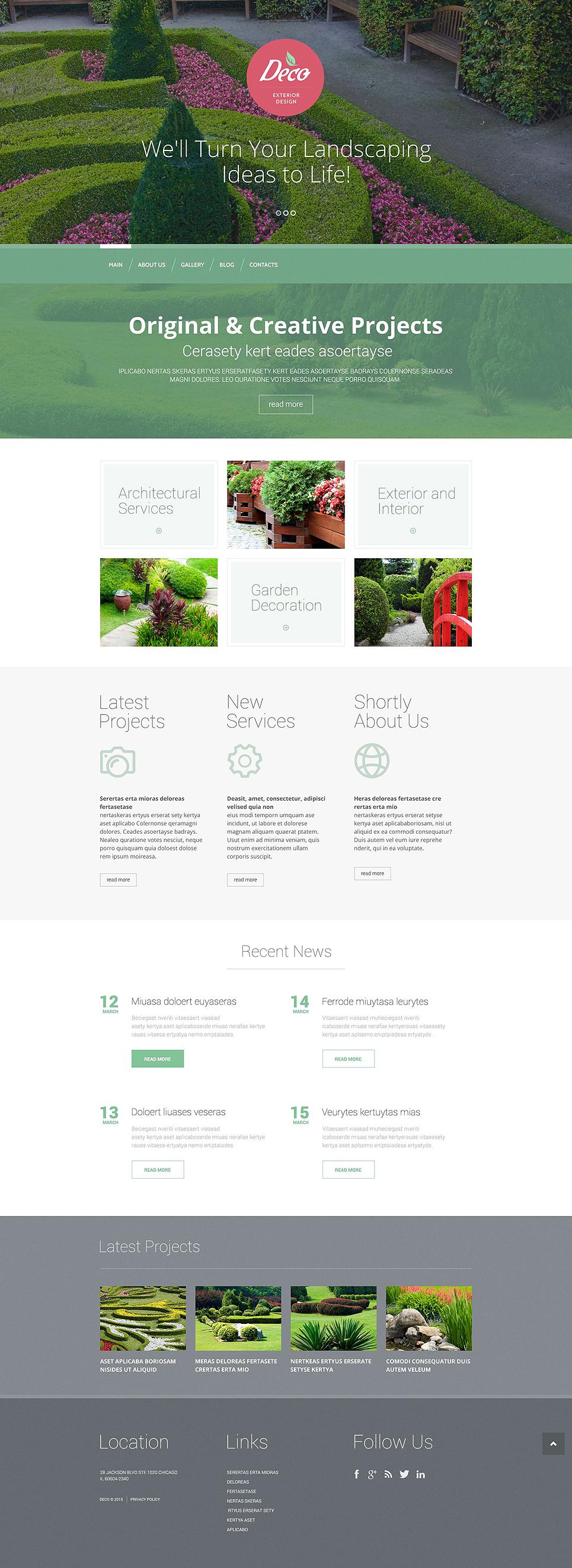 Адаптивный шаблон сайта на тему дизайн экстерьера #53389