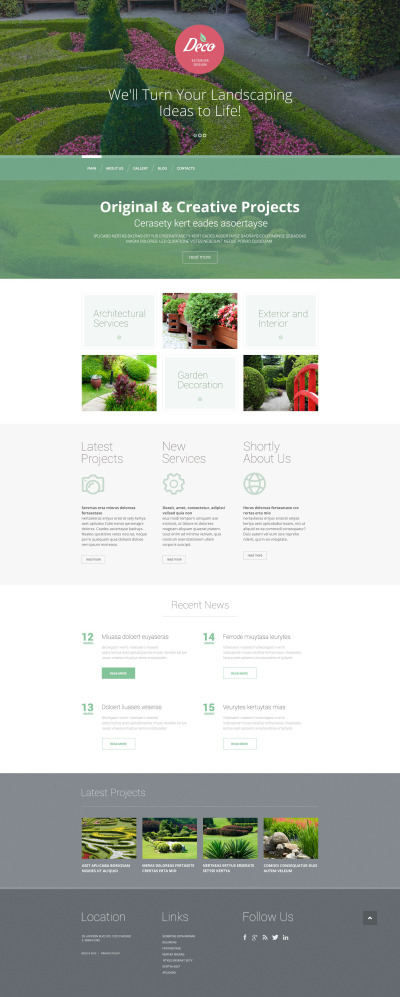 Адаптивный WordPress шаблон №53389 на тему дизайн экстерьера