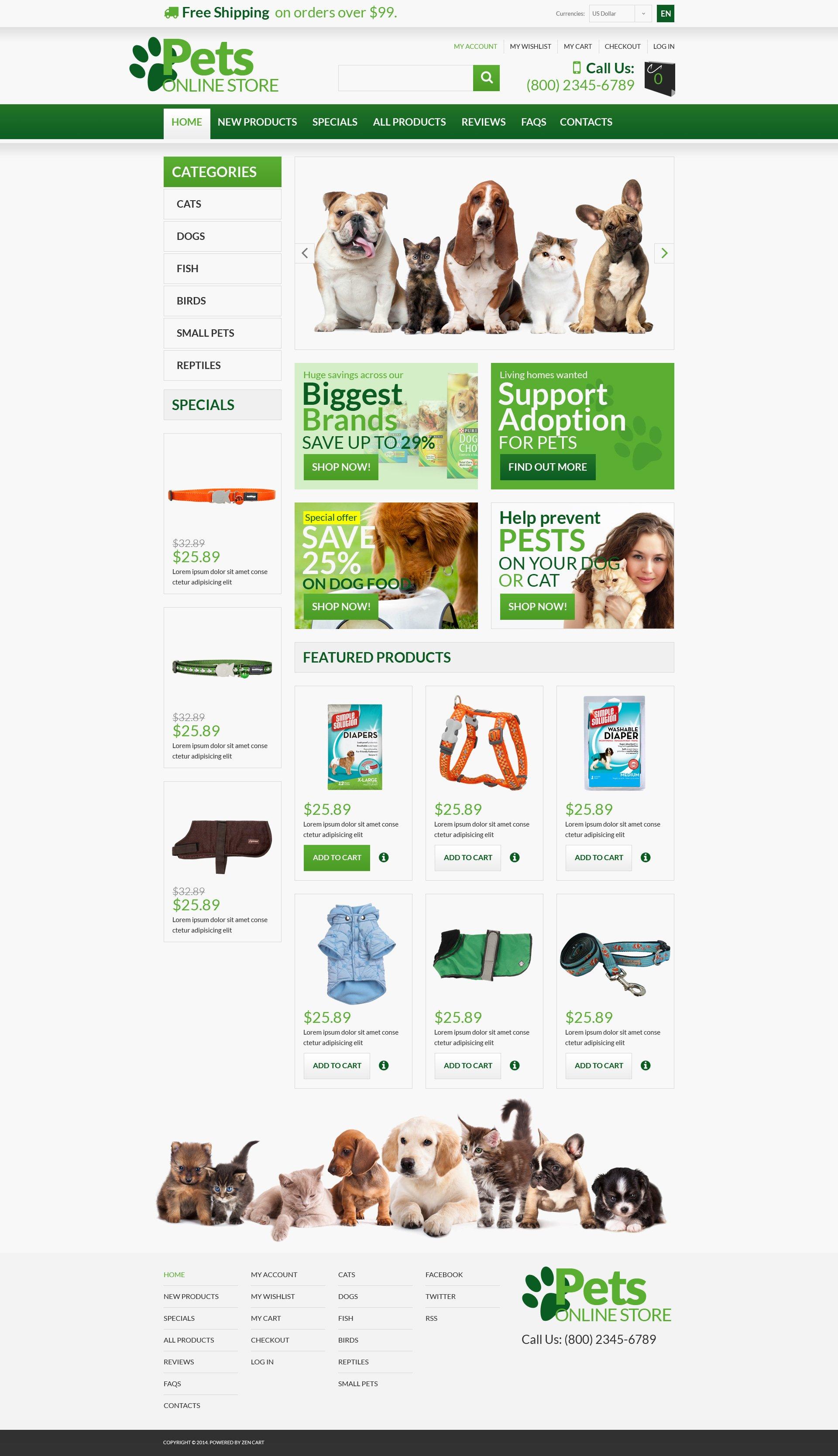 """Animals  Pets"" - ZenCart шаблон №53363"