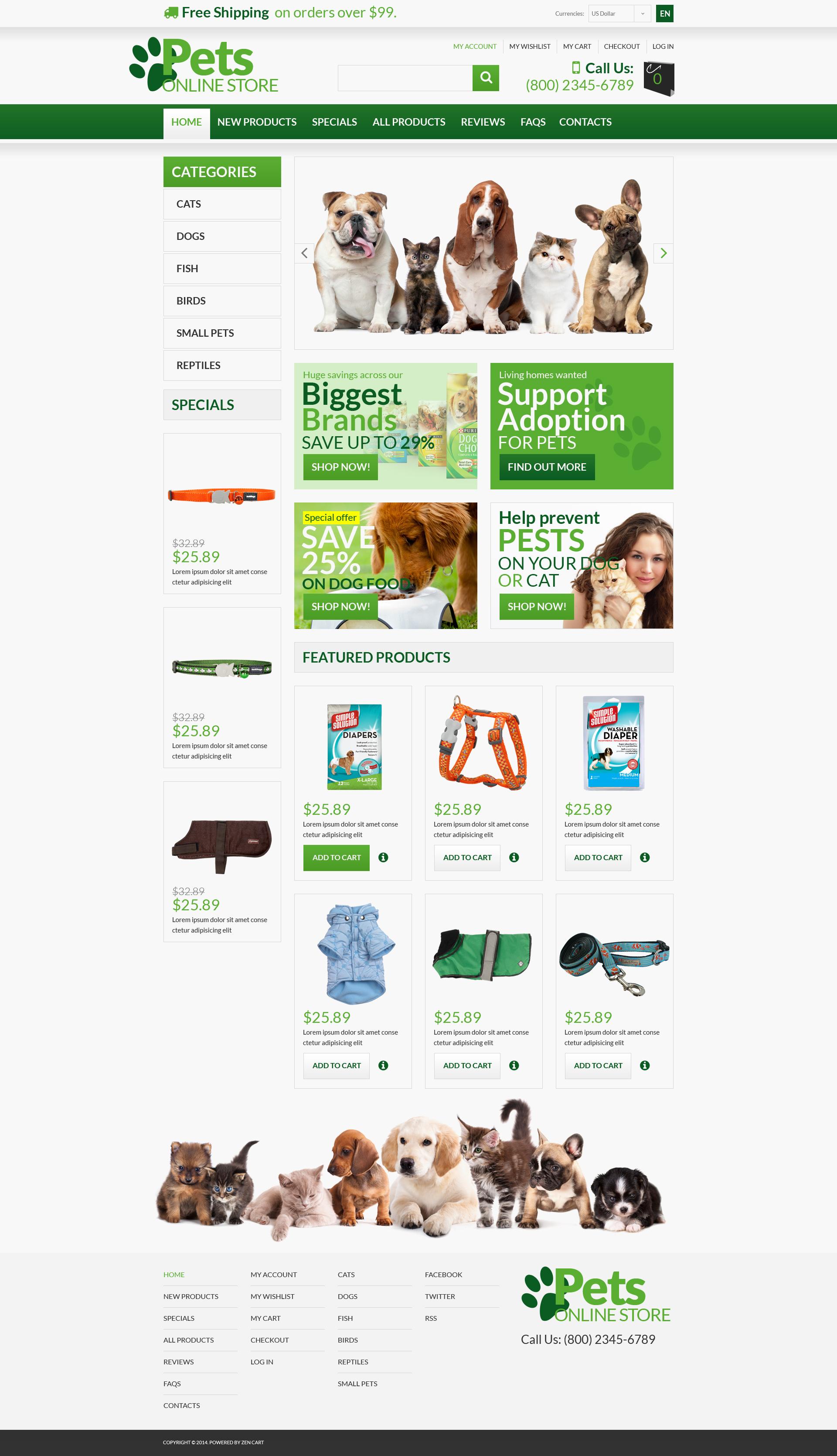 """Animals  Pets"" ZenCart template №53363"