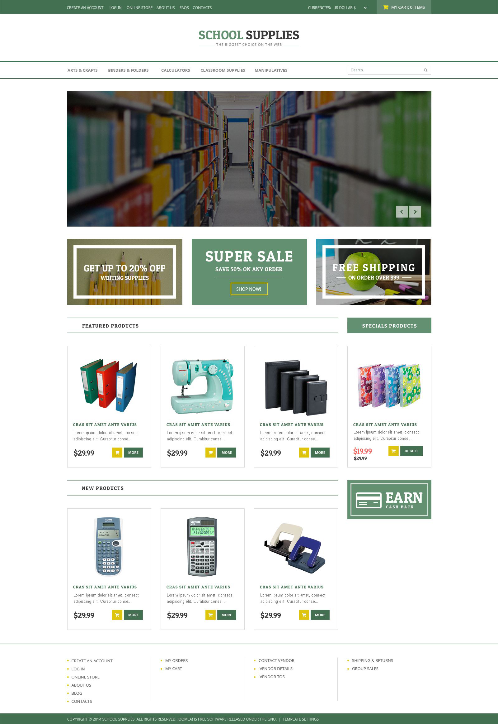 """Back-to-School Goods"" VirtueMart模板 #53377"