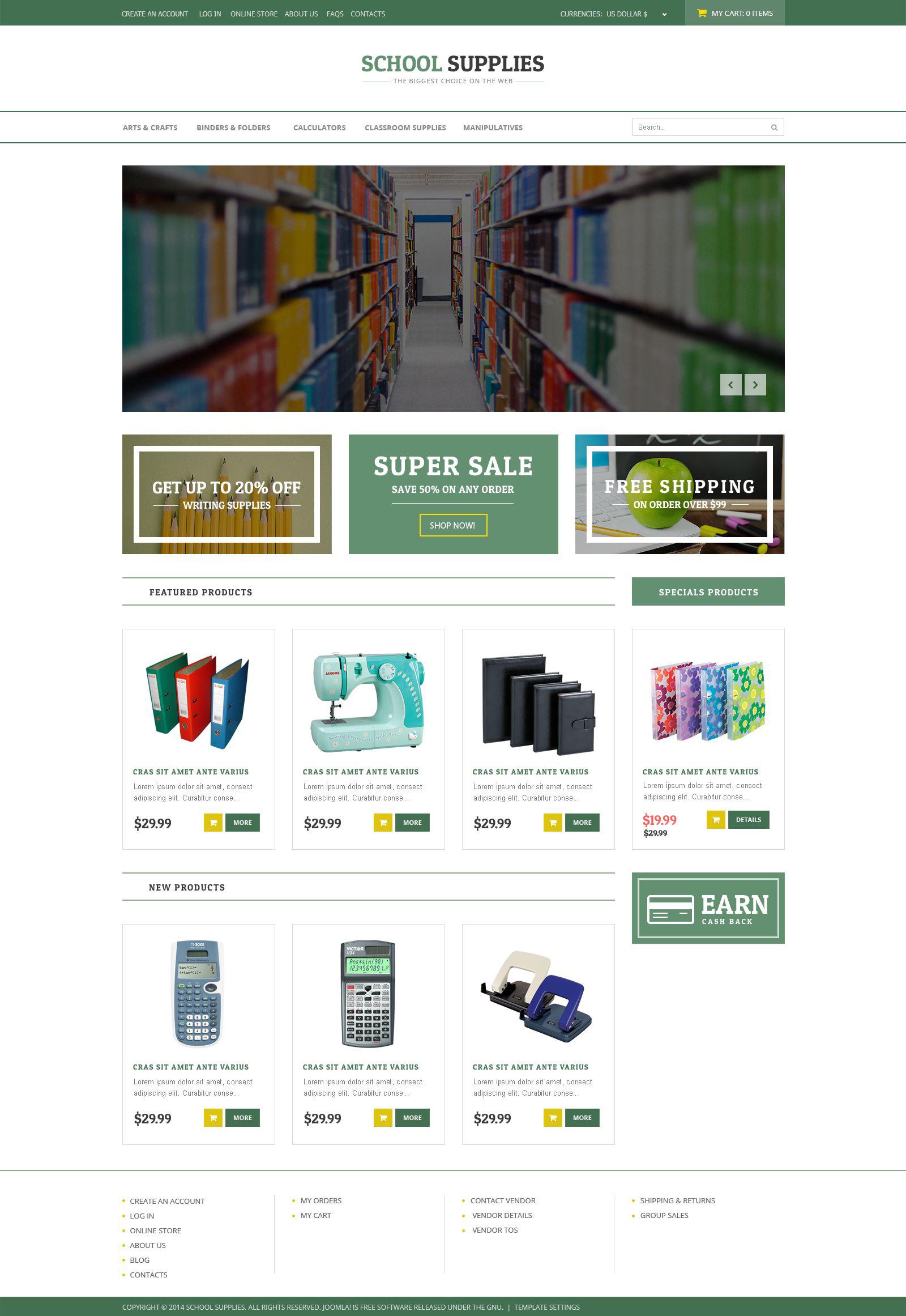 """Back-to-School Goods"" VirtueMart Template №53377"