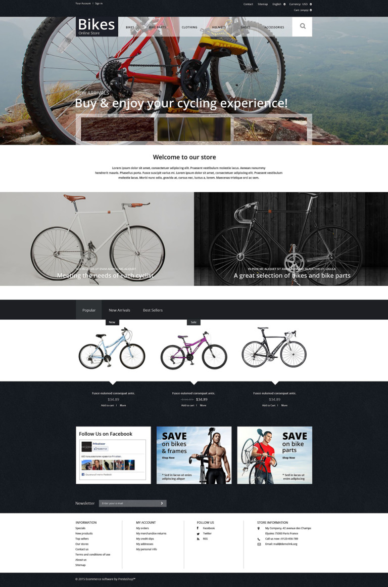 Bike Store PrestaShop Theme New Screenshots BIG