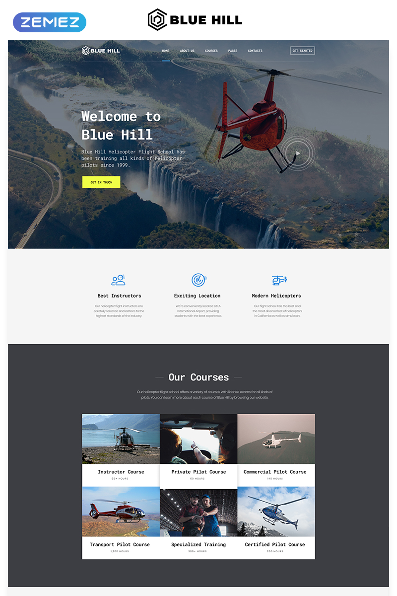 Blue Hill - Flight School Multipage Creative HTML Website Template