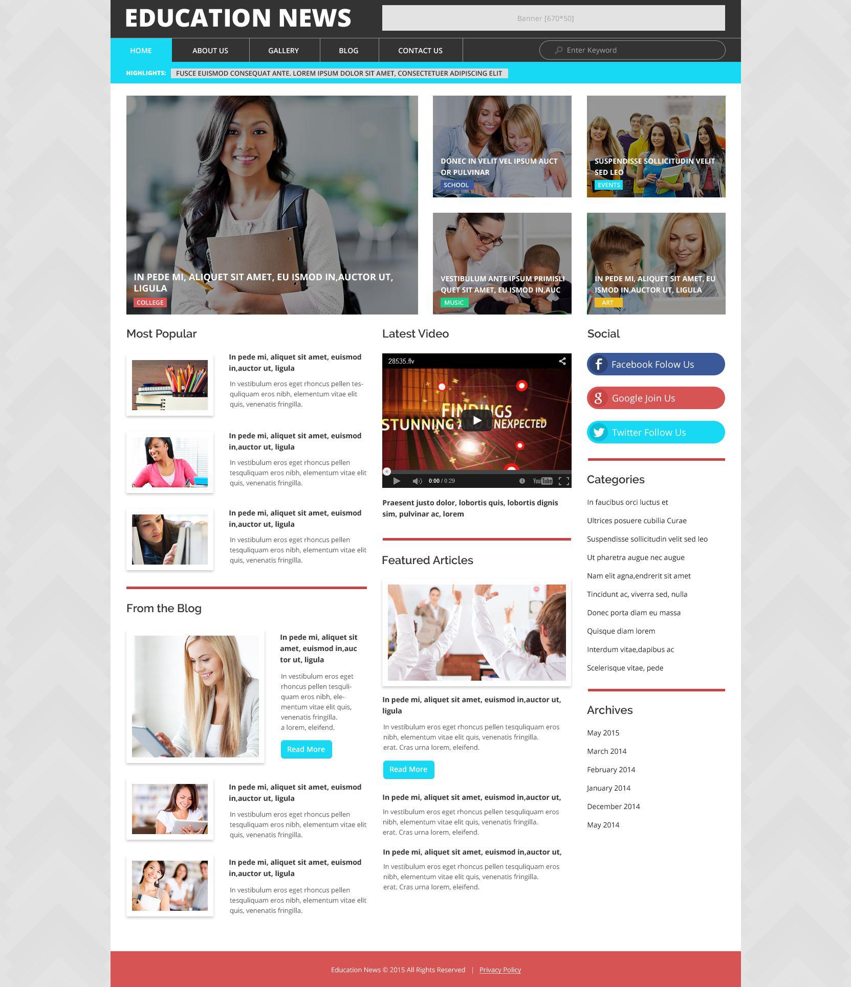 """Education News"" Responsive WordPress thema №53365 - screenshot"