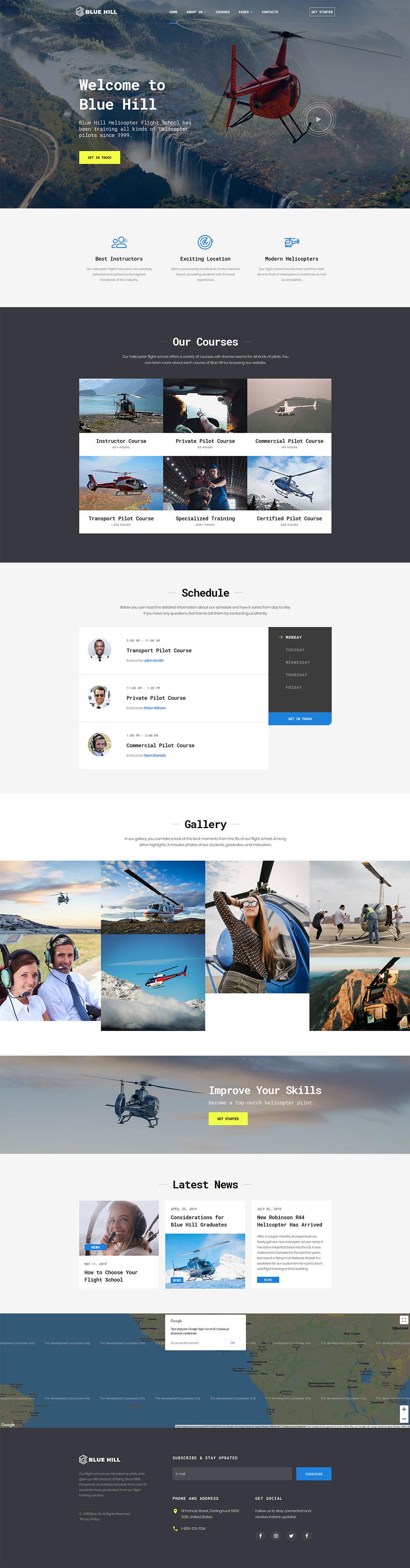 Flight School Responsive Website Template #53326