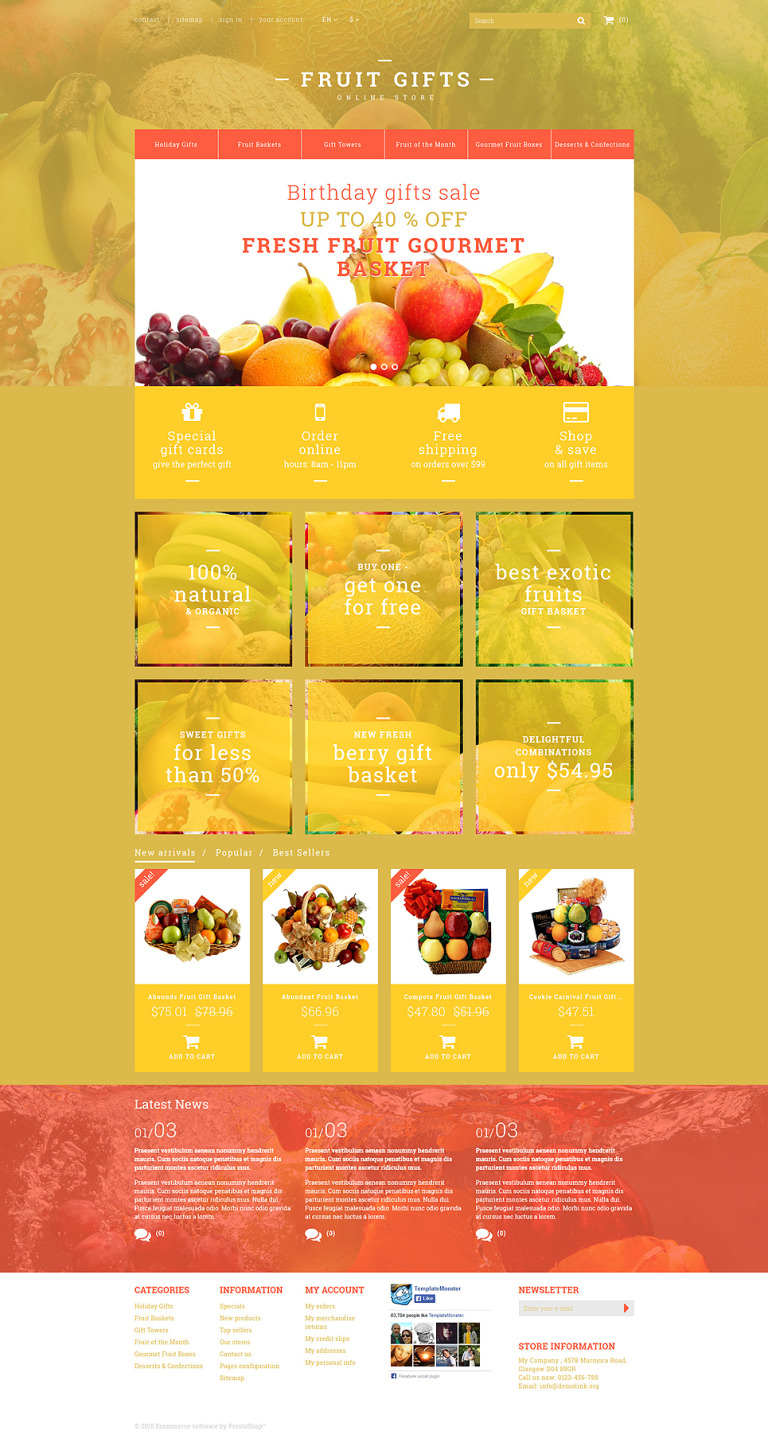 Fresh Fruit Gift Basket PrestaShop Theme New Screenshots BIG
