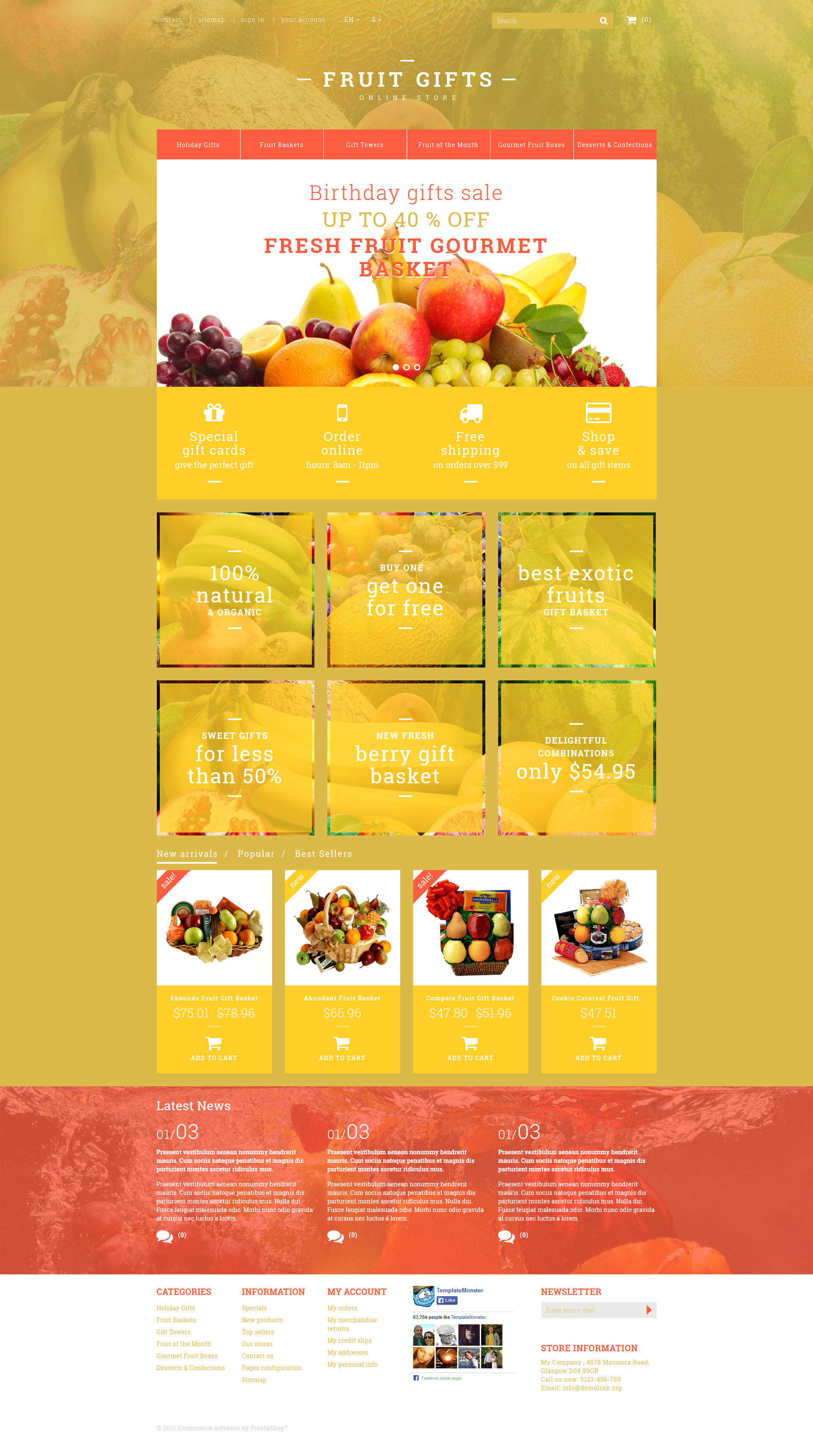 """Fresh Fruit Gift Basket"" Responsive PrestaShop Thema №53379"
