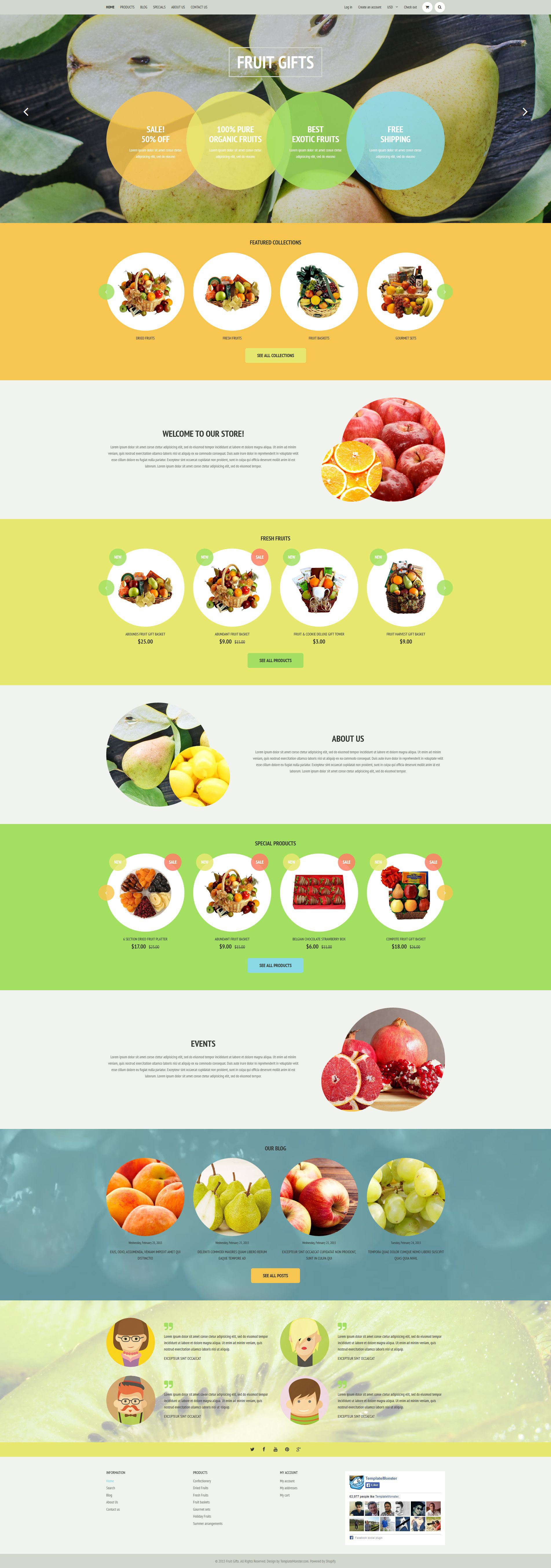 """Fruit Shop"" - адаптивний Shopify шаблон №53345"