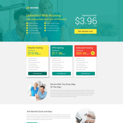 Hosting Responsive Landing Page Template - Website splash page templates
