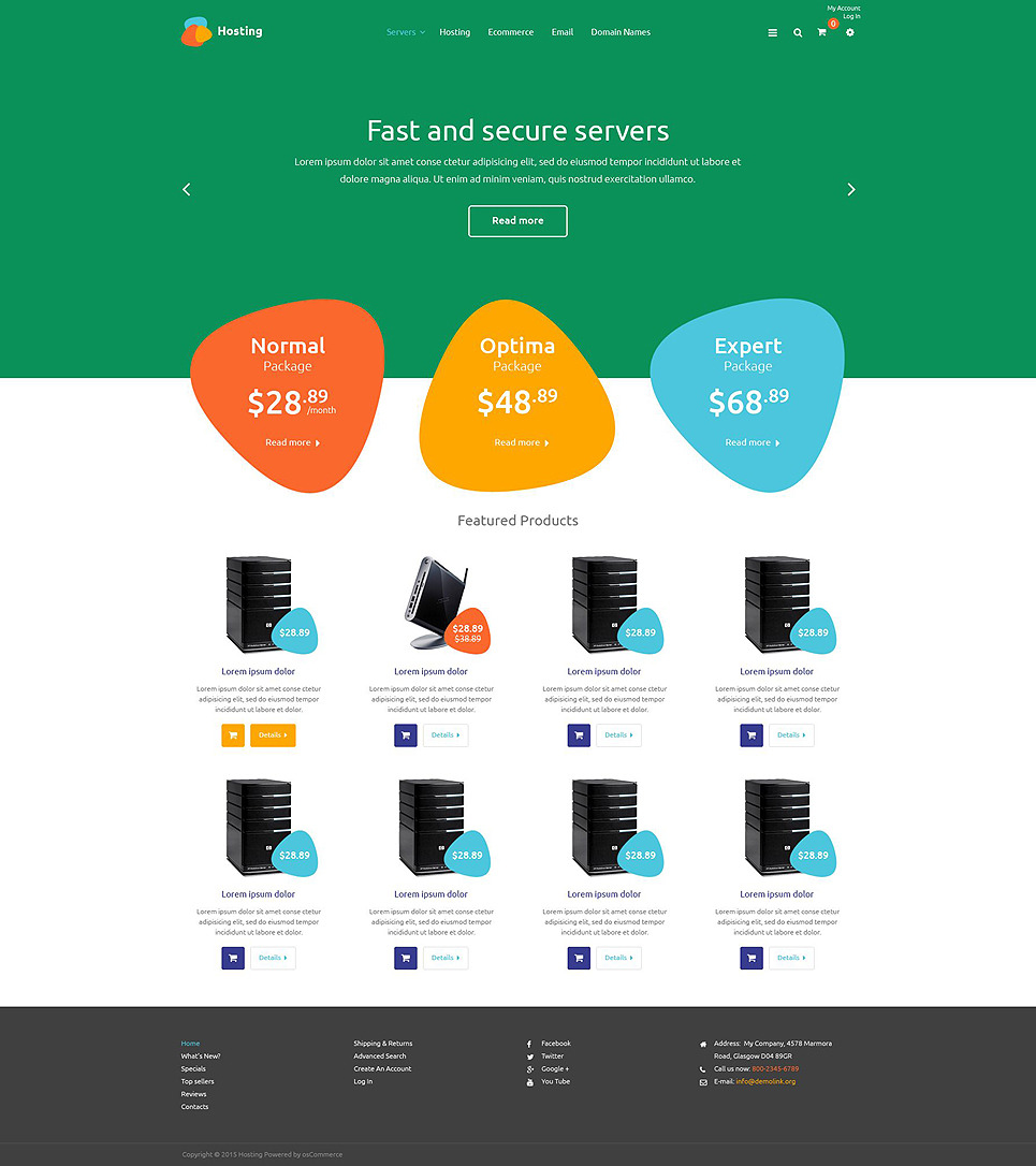 Hosting Services OsCommerce Template New Screenshots BIG