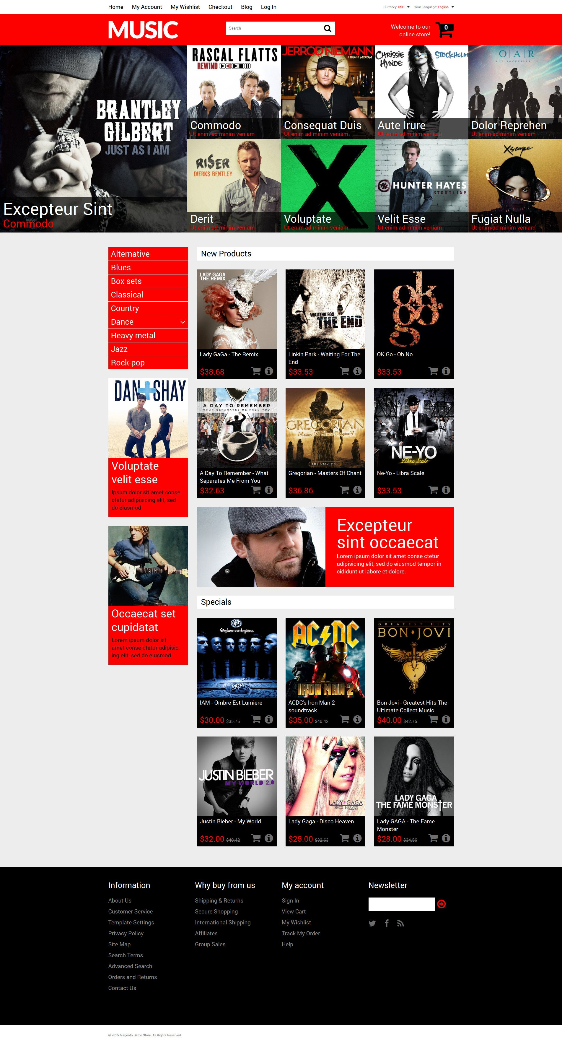 """Mixed Taste Music Shop"" 响应式Magento模板 #53364"