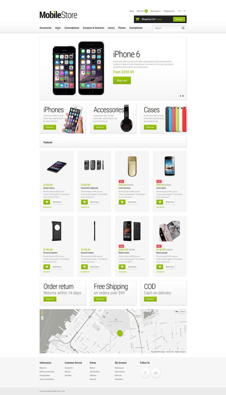 Mobile Phones OpenCart Template New Screenshots BIG